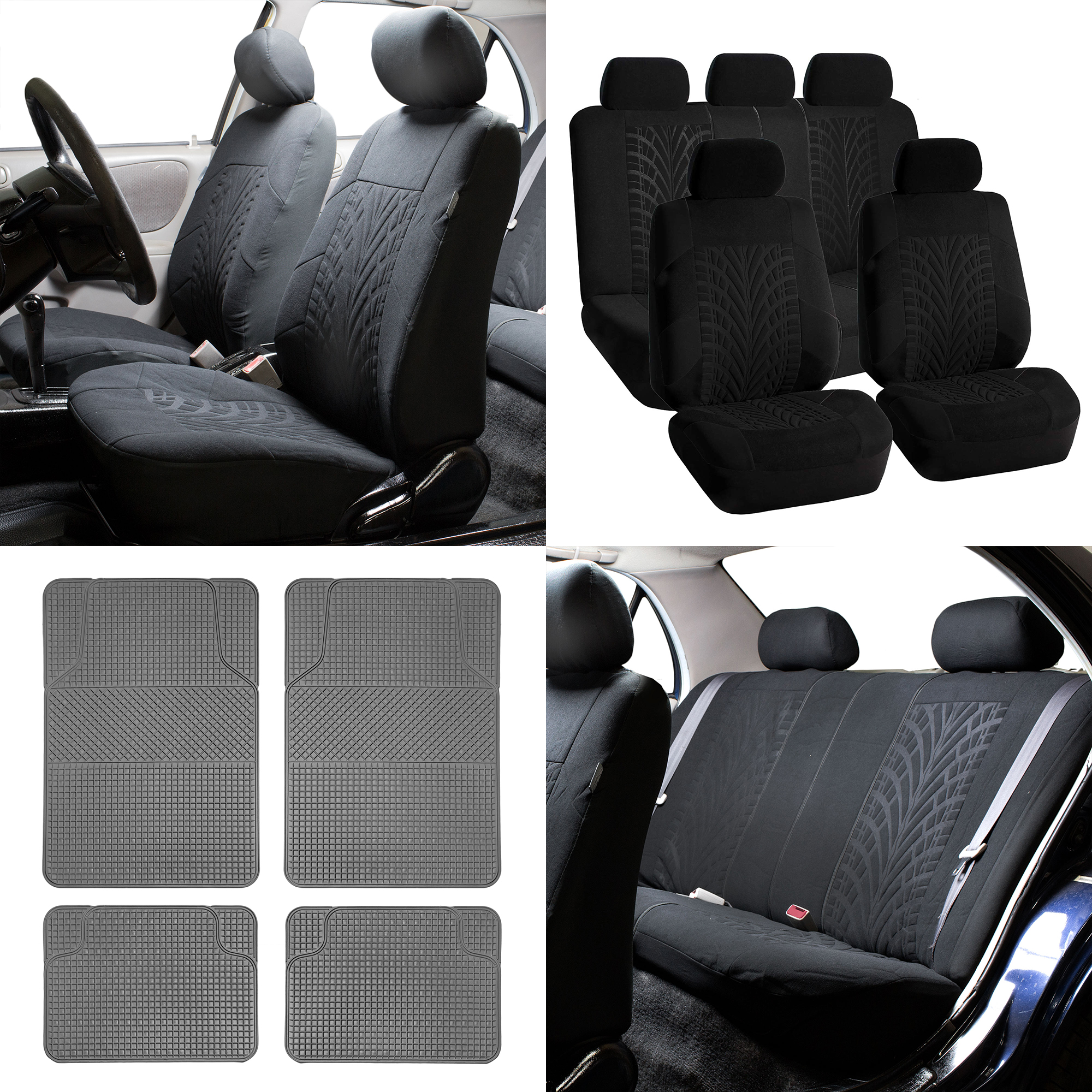 Seat Covers Floor Mats Combo For Auto Black
