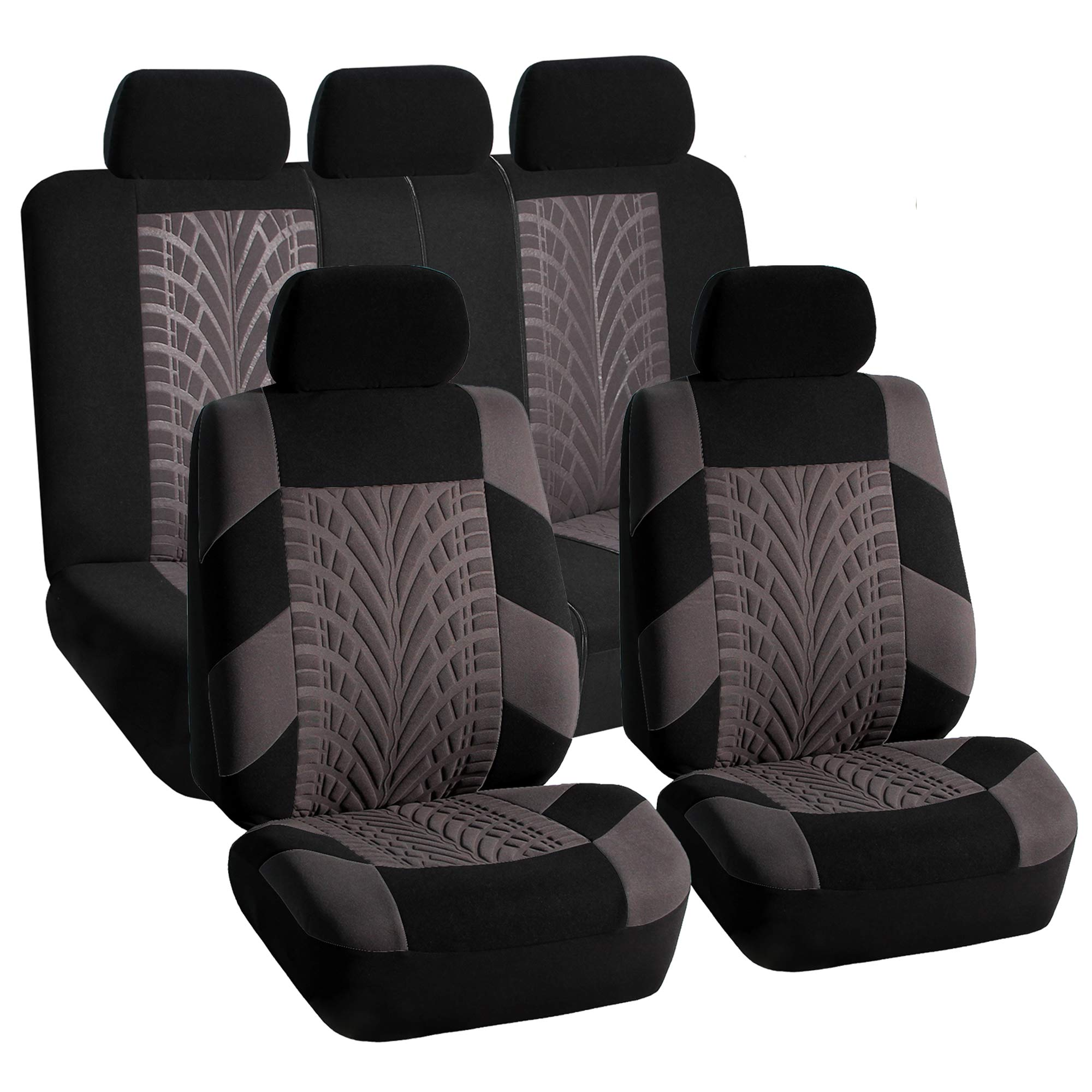 Gray Car Seat Covers Set For Auto W Floor Mat