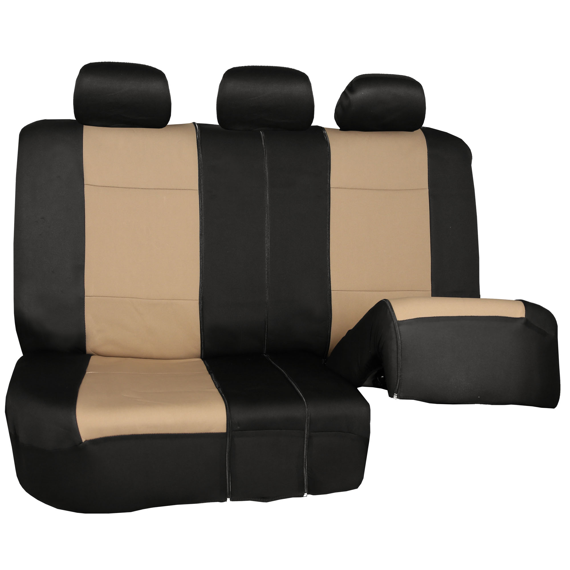 Neoprene Car Seat Covers With Beige 4PCS Mats Combo Full