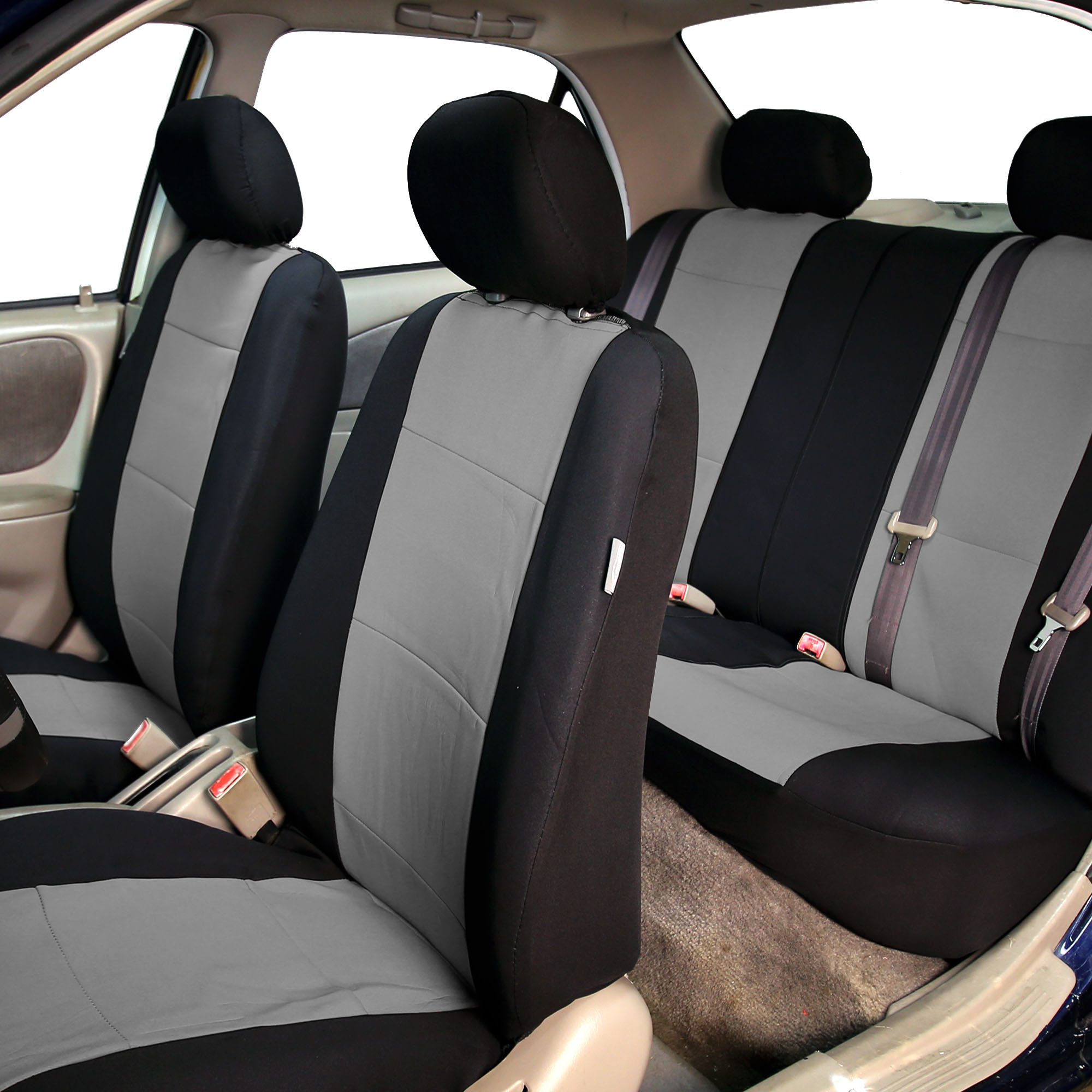 neoprene car seat covers with gray 4pcs mats combo full set for auto car suv. Black Bedroom Furniture Sets. Home Design Ideas