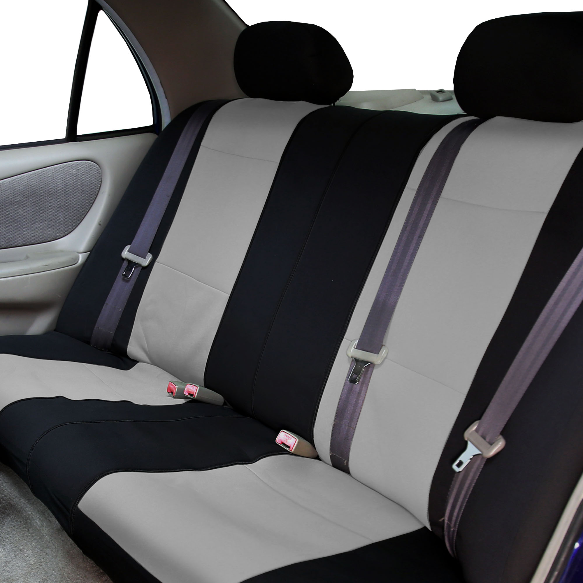 Neoprene Car Seat Covers With Gray Floor Mats Combo Full