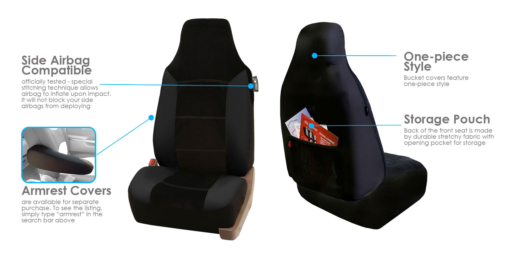Leather Velour Car Seat Covers Sport Luxury Top Quality