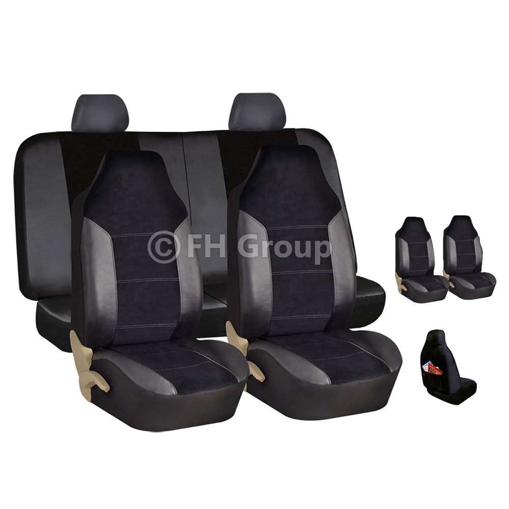 Complete Full Set Front Rear Car Seat Cover Black For Car