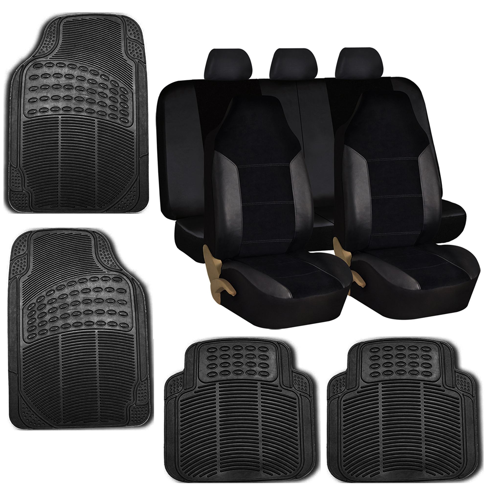 car seat covers set for auto w floor mat black for sale. Black Bedroom Furniture Sets. Home Design Ideas