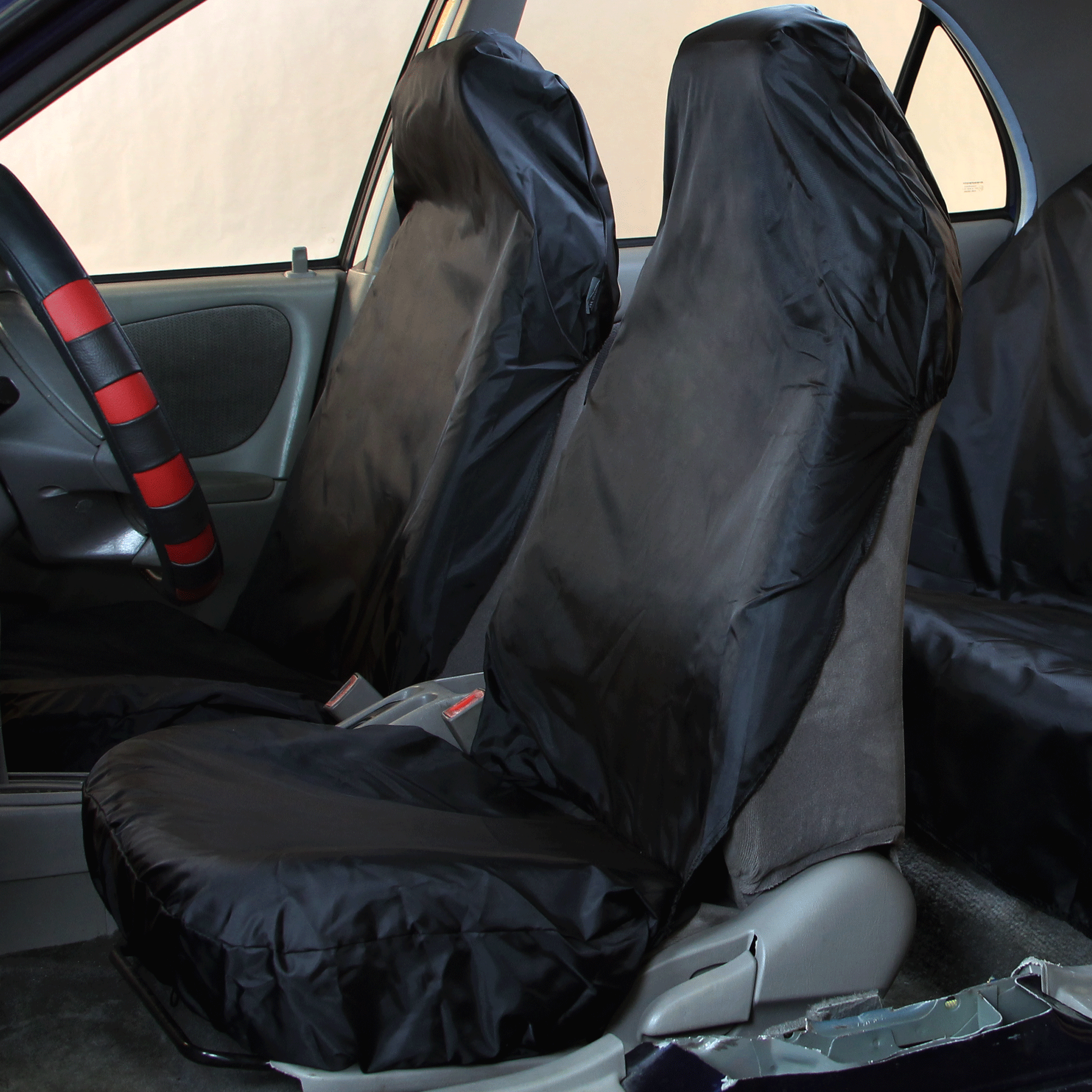 waterproof car seat covers black 2 front seats ebay. Black Bedroom Furniture Sets. Home Design Ideas