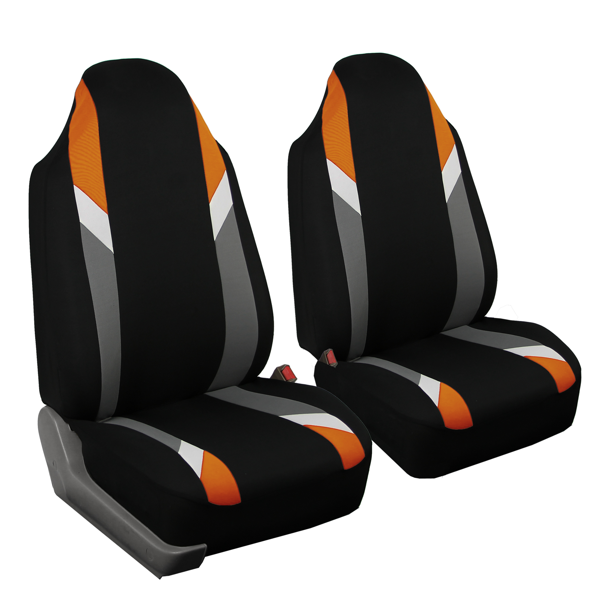 Highback 2 Front Bucket Car Seat Cover For Auto Orange