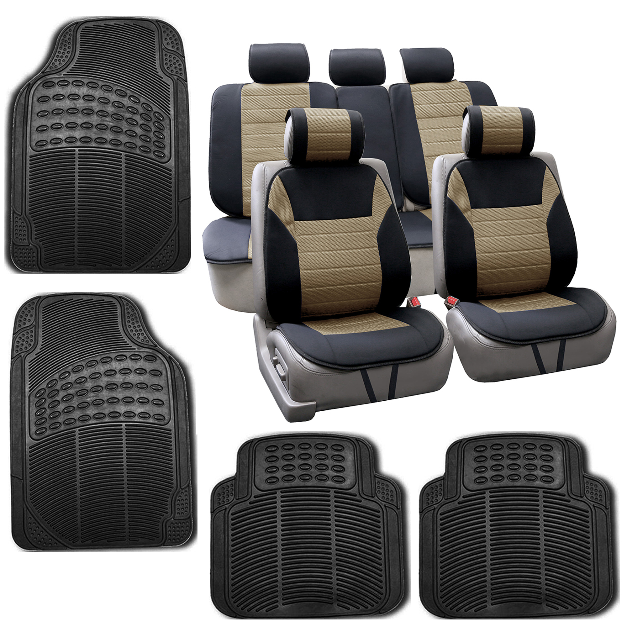car seat covers top quality car seat cushion pads rubber floor mat set ebay. Black Bedroom Furniture Sets. Home Design Ideas