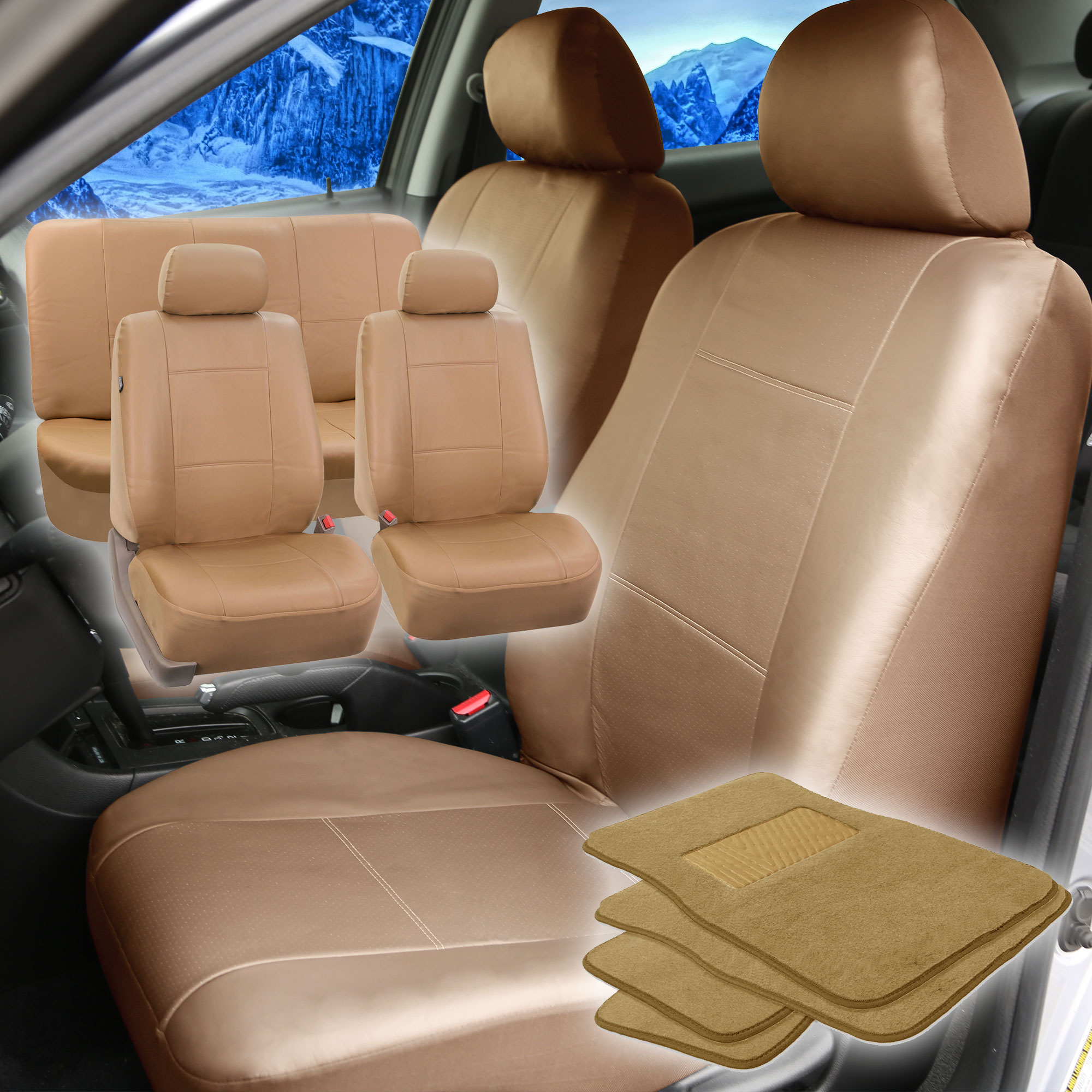 faux leather beige car seat cover full set w beige carpet floor mat. Black Bedroom Furniture Sets. Home Design Ideas