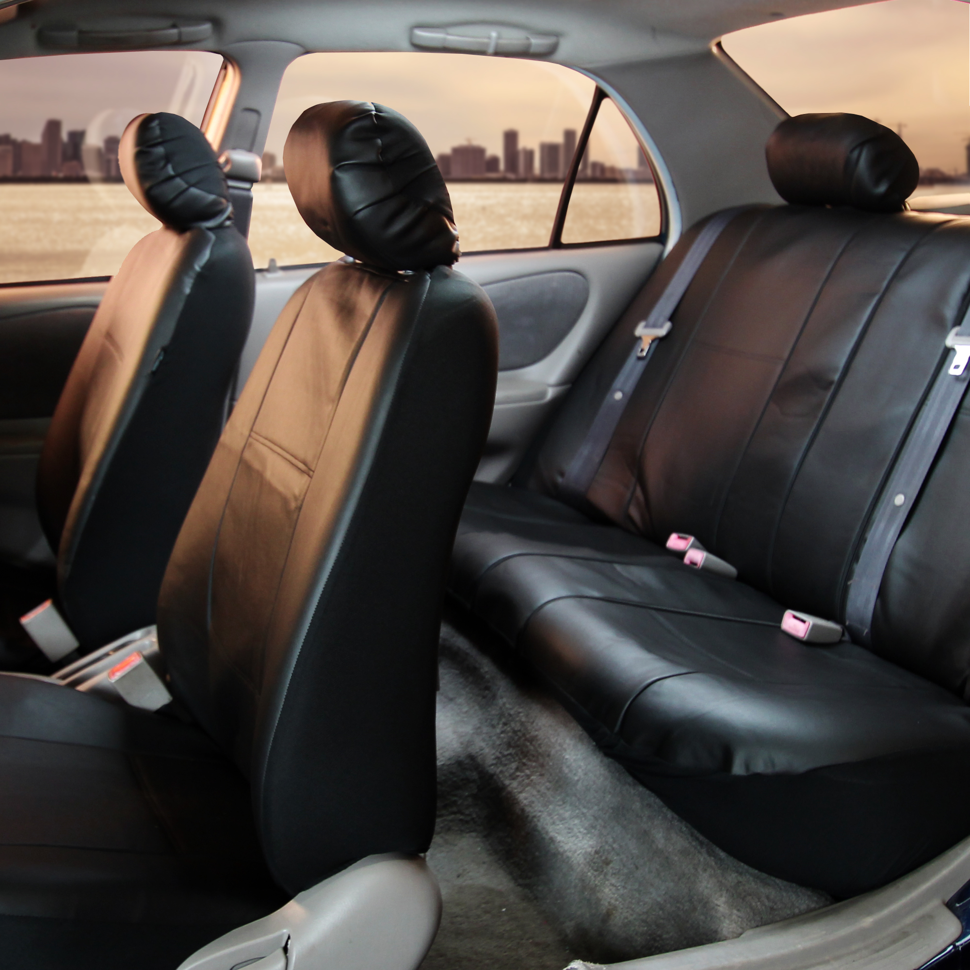 complete set synthetic leather car seat covers for auto tan black ebay. Black Bedroom Furniture Sets. Home Design Ideas