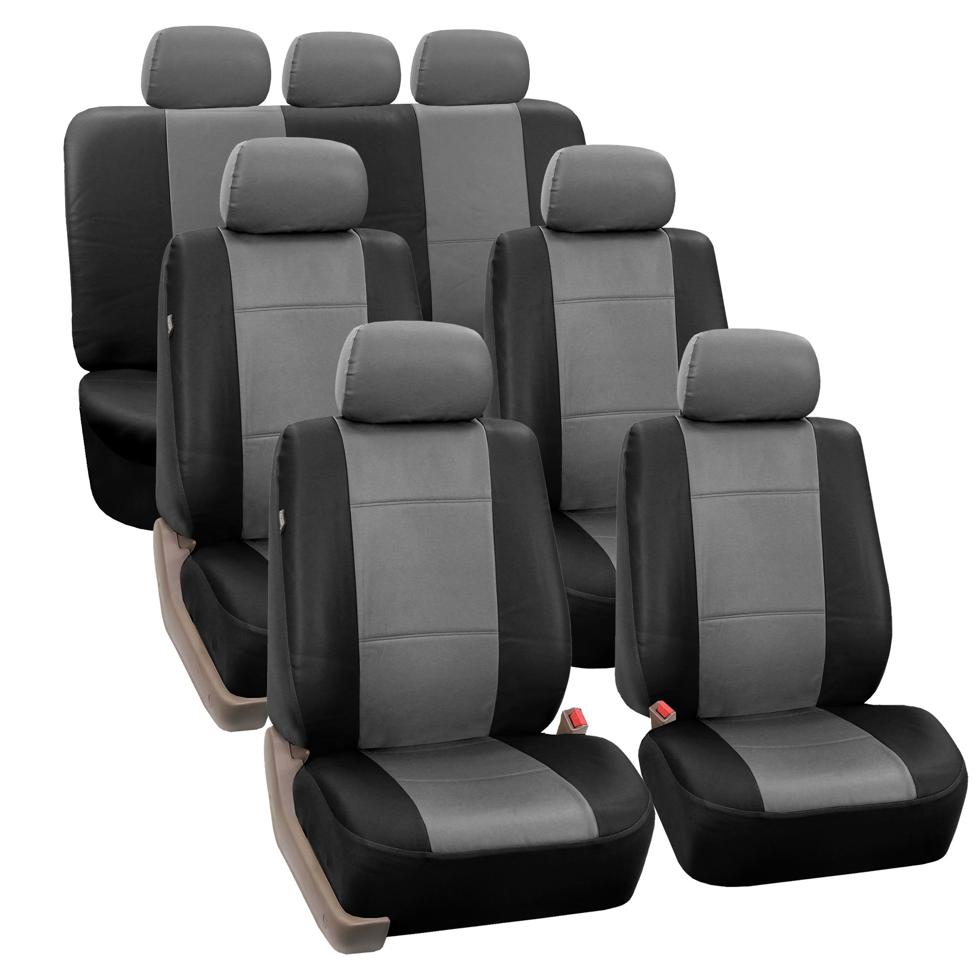 Split Bench Seat Covers ~ Row pu leather seat covers airbag safe split bench