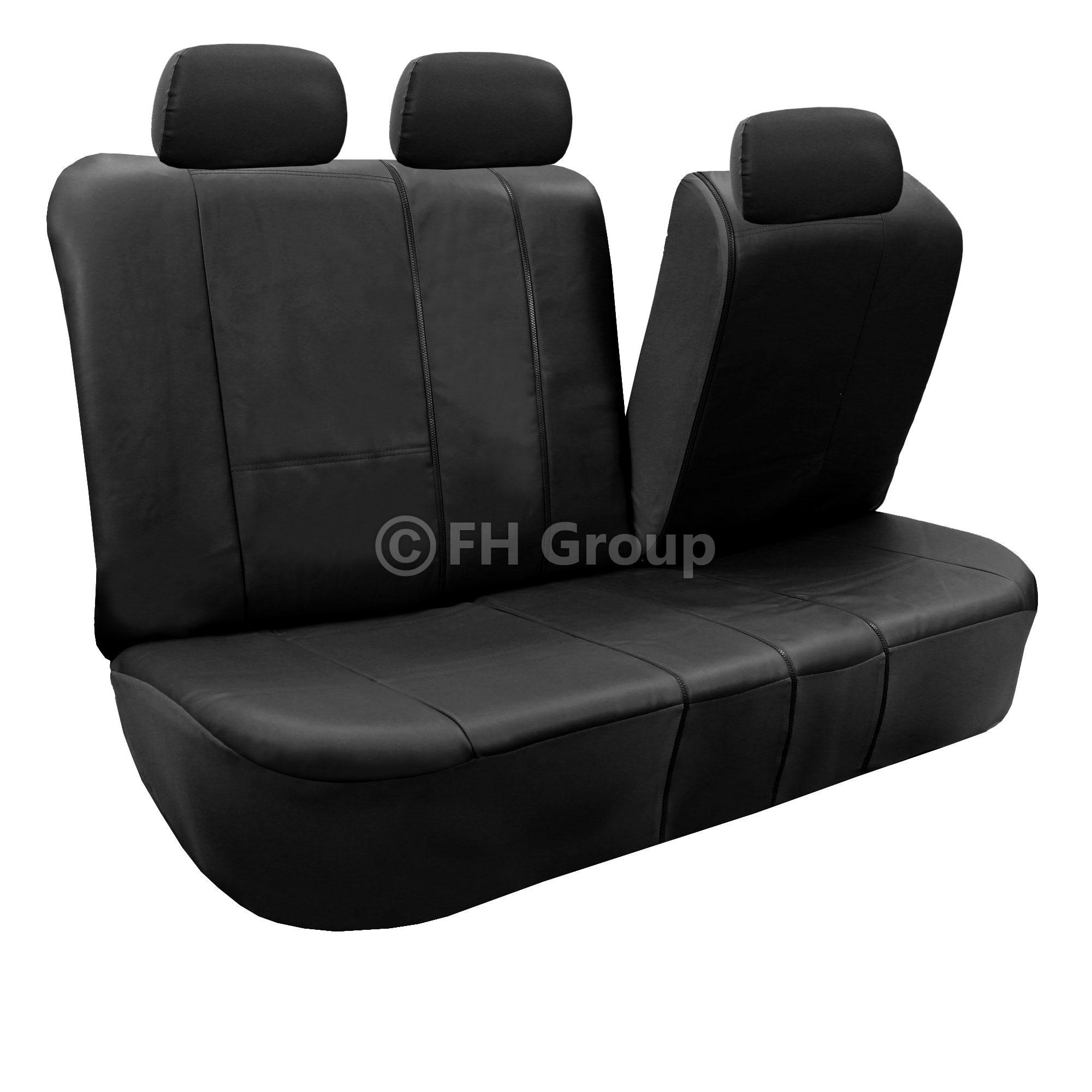 Black Faux Leather Car Seat Cover Set Headrests Floor Mat