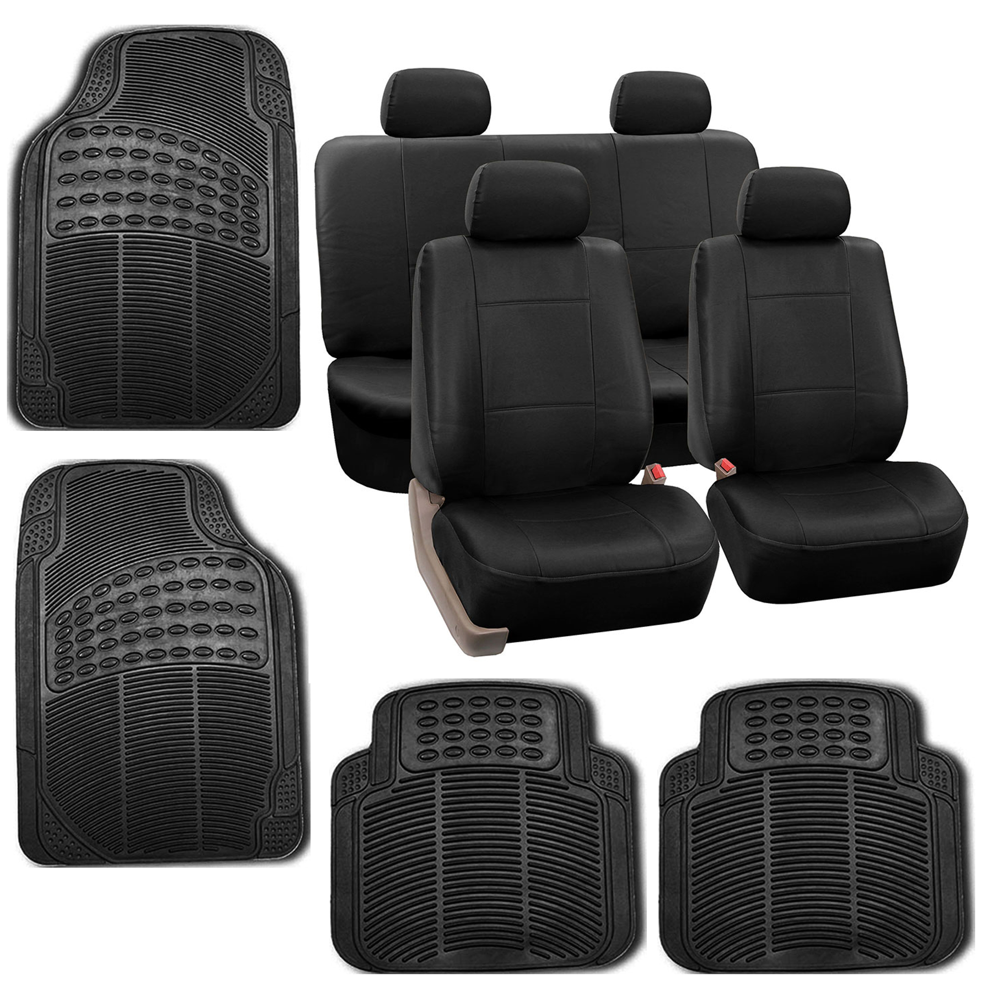 black faux leather car seat cover set headrests floor mat set ebay. Black Bedroom Furniture Sets. Home Design Ideas
