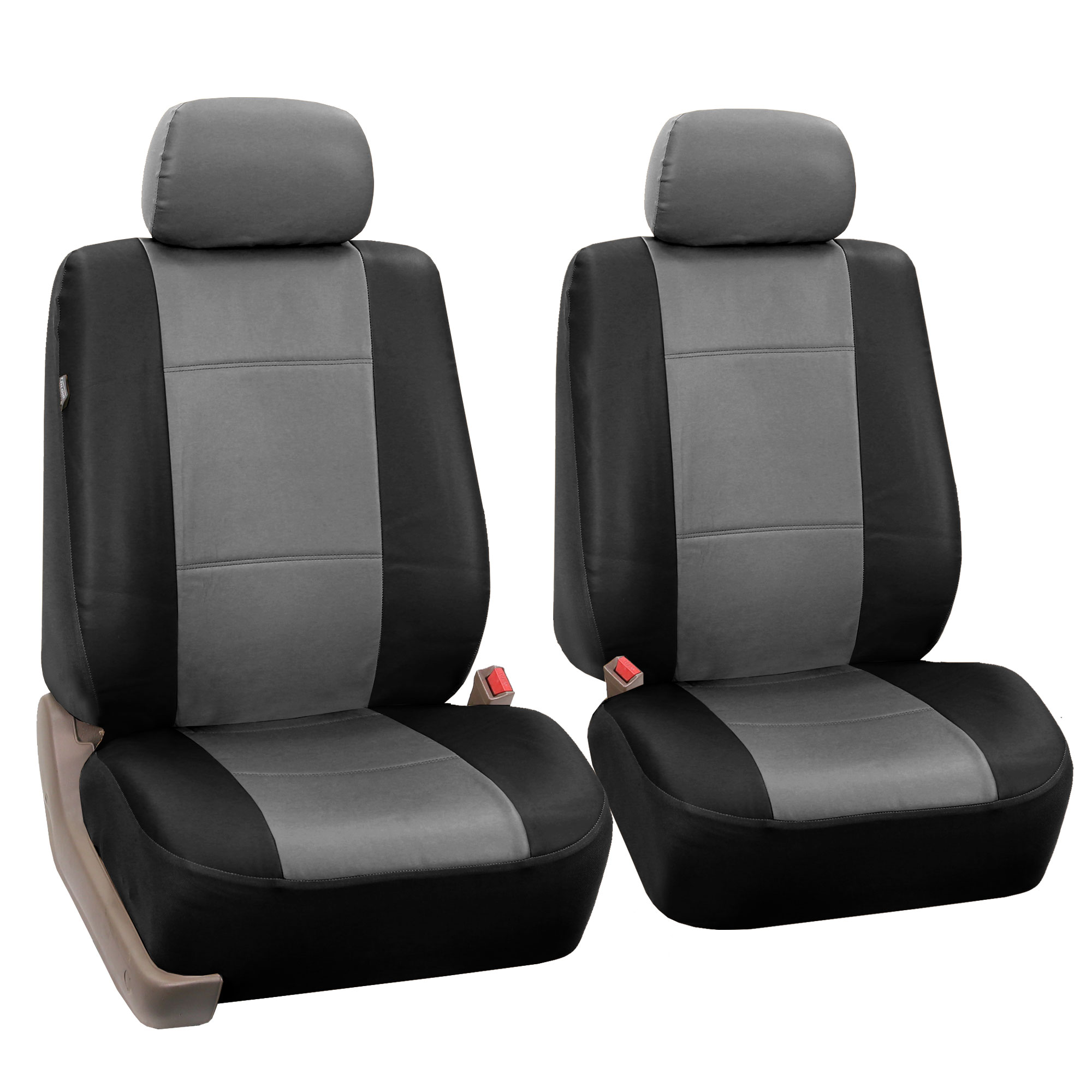 Pair Bucket PU Leather Seat Covers For Detachable Headrest