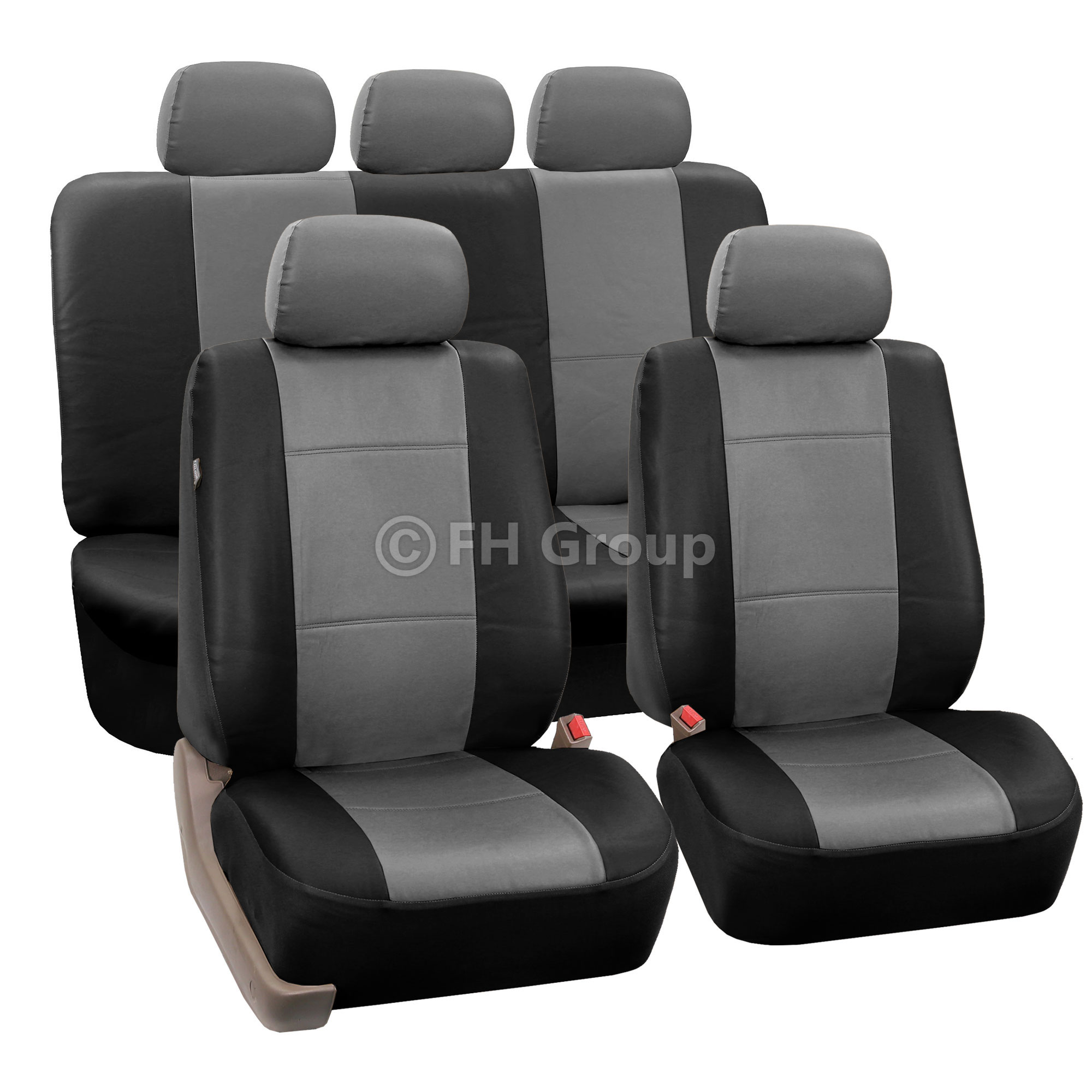 pu leather car seat covers w carpet floor mats for split bench ebay. Black Bedroom Furniture Sets. Home Design Ideas