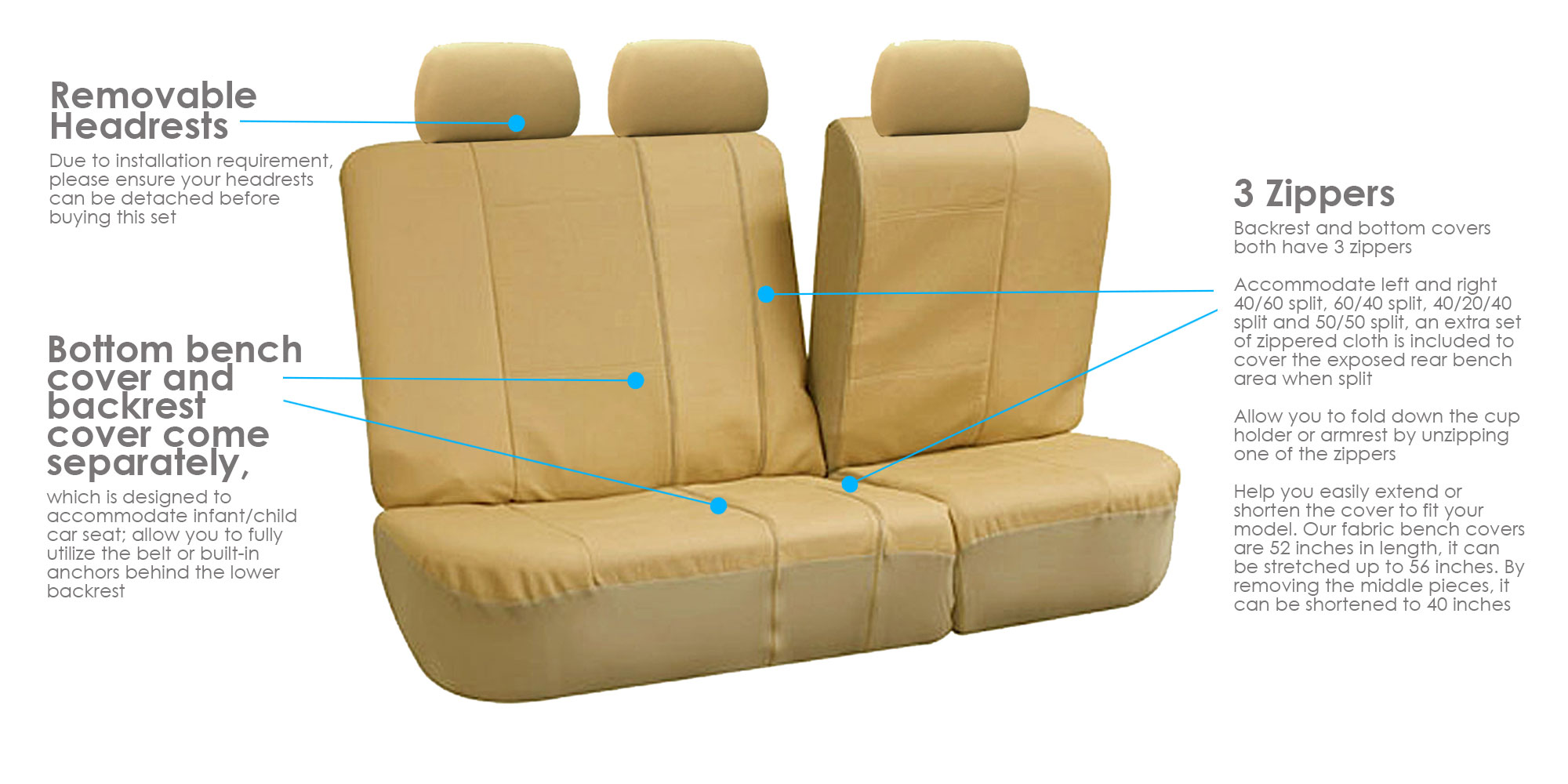 3 Row Faux Leather Car Seat Covers Airbag Safety For
