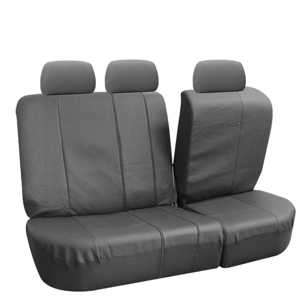 Car Seat Covers PU Leather Gray With Floor Mat Set