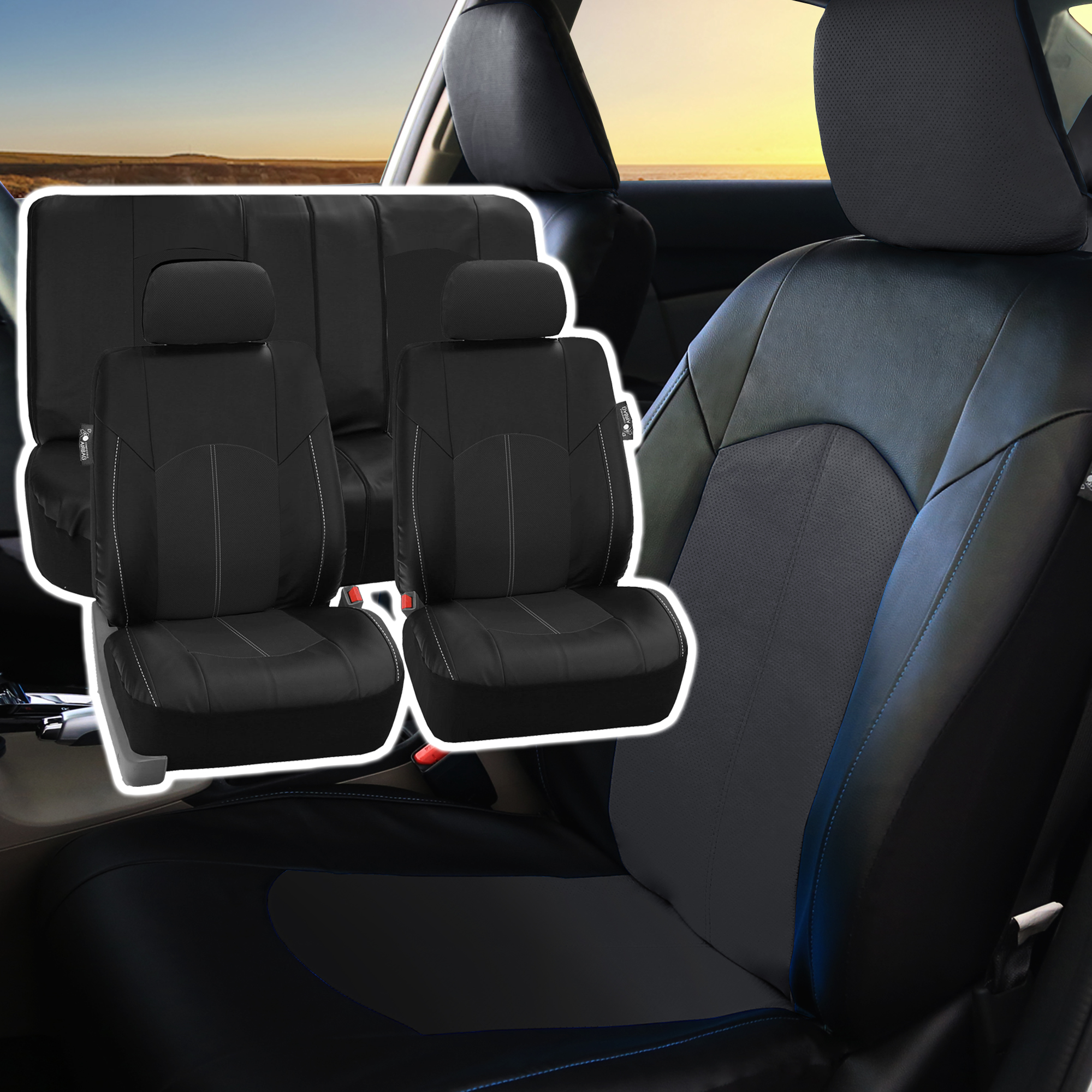 top quality pu leather front back car seat covers black for car truck ebay