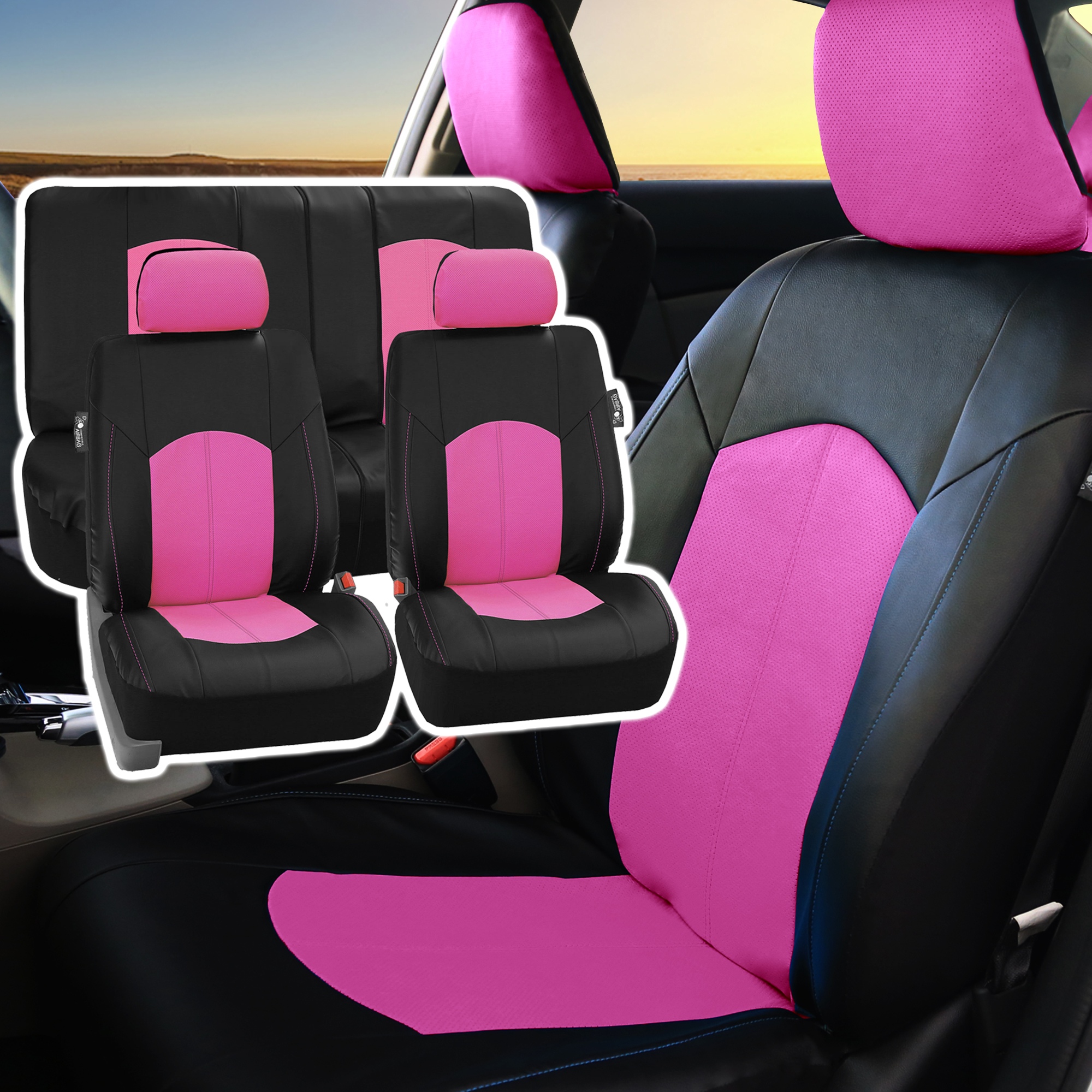 PU Leather Complete Set Front Back Seat Covers Pink For Car