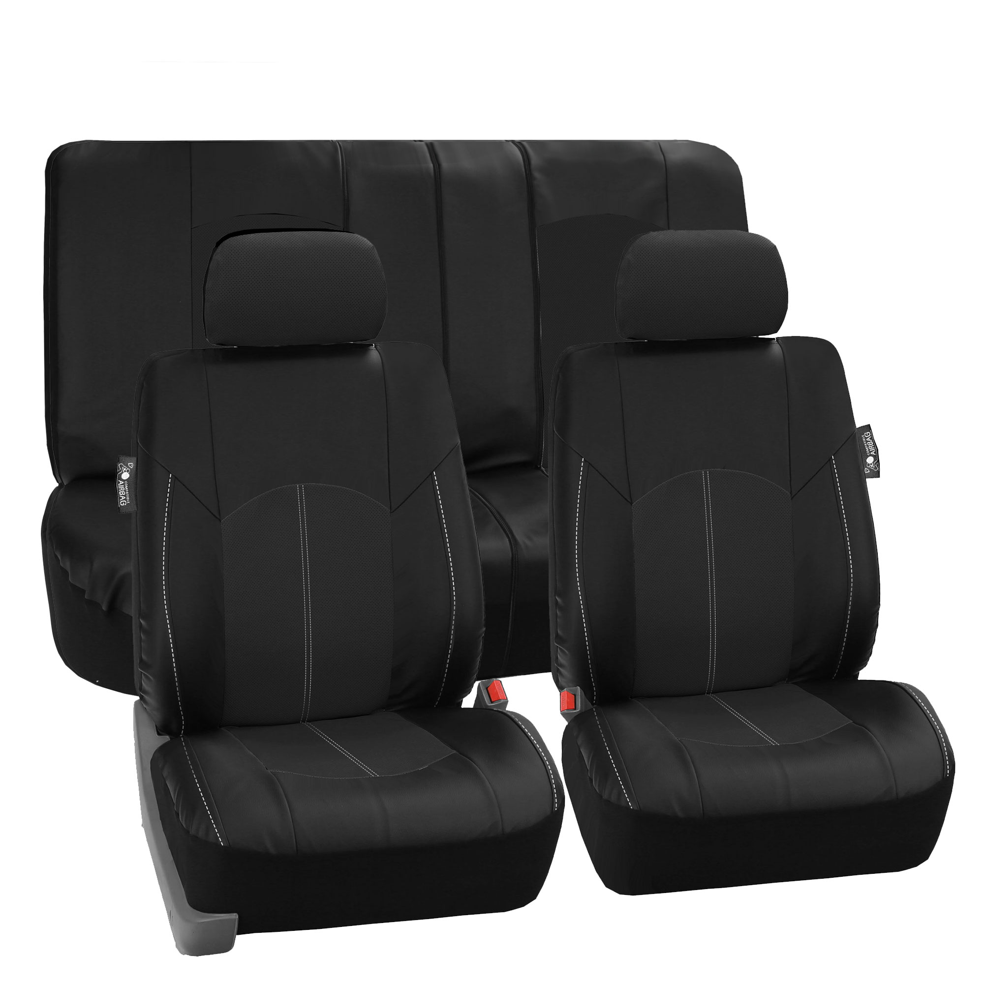 top quality pu leather front back car seat covers black for car truck. Black Bedroom Furniture Sets. Home Design Ideas