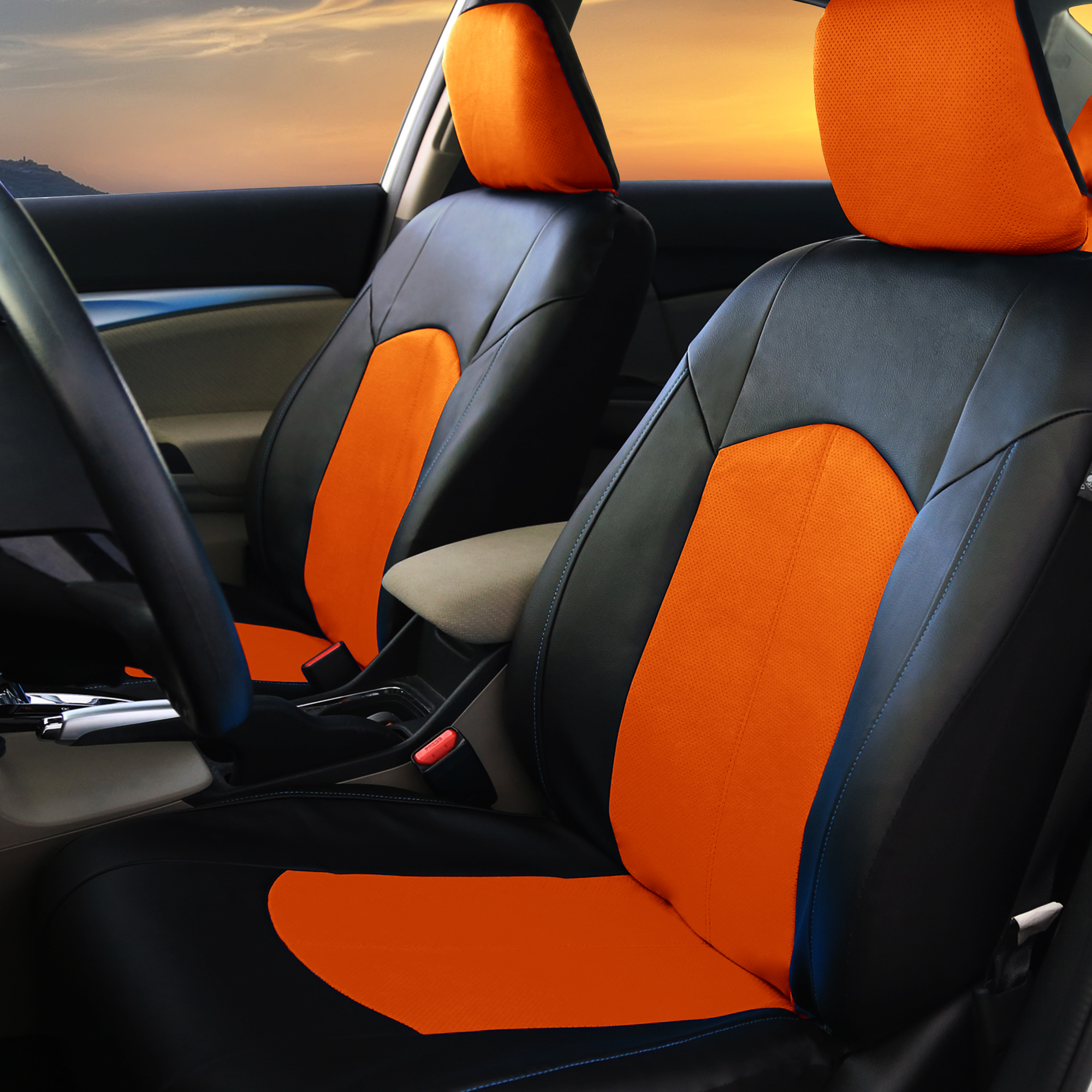 pu leather car seat covers for auto orange black 5 headrests beige floor mat ebay. Black Bedroom Furniture Sets. Home Design Ideas