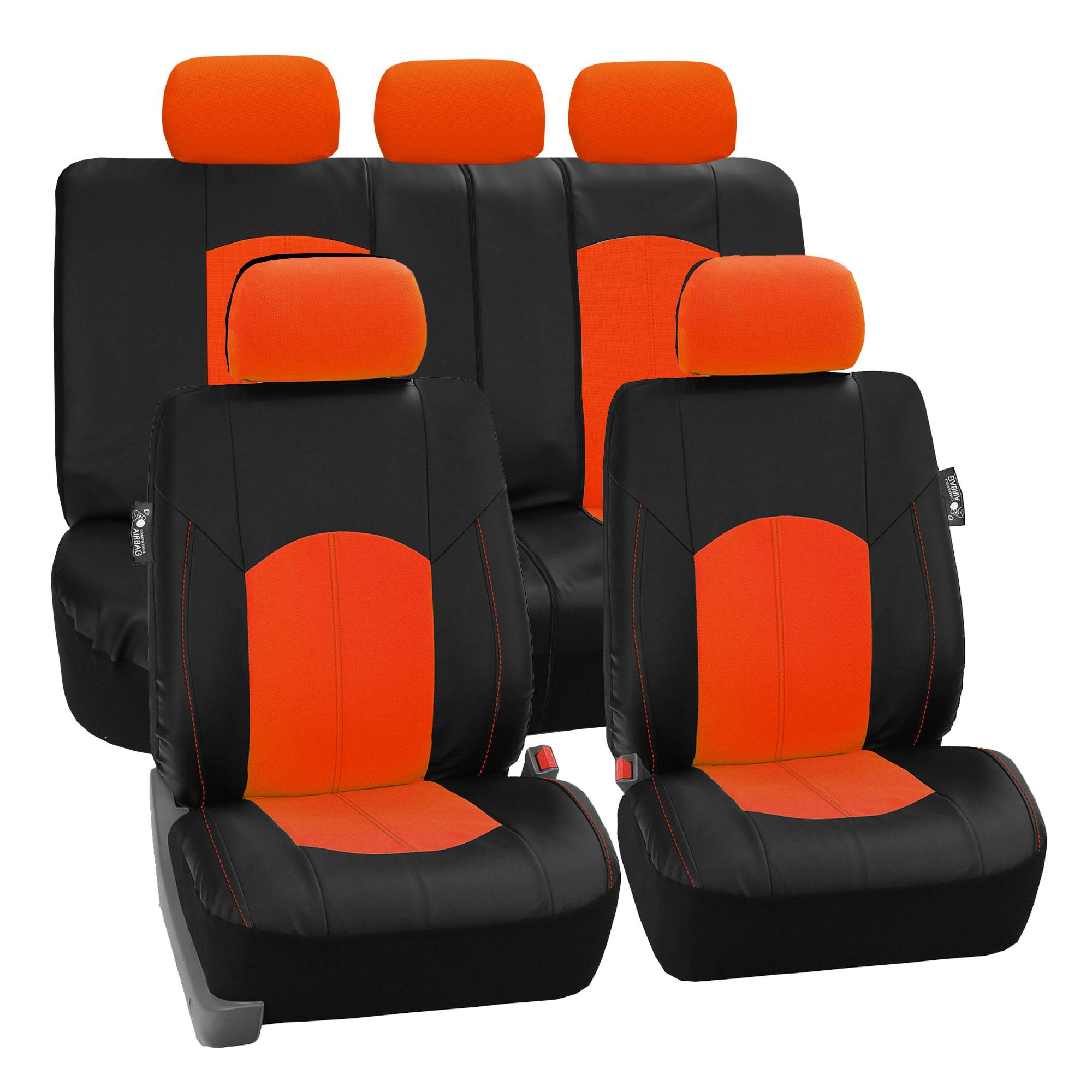 Black Orange PU Leather Car Seat Cover Set Headrests Floor