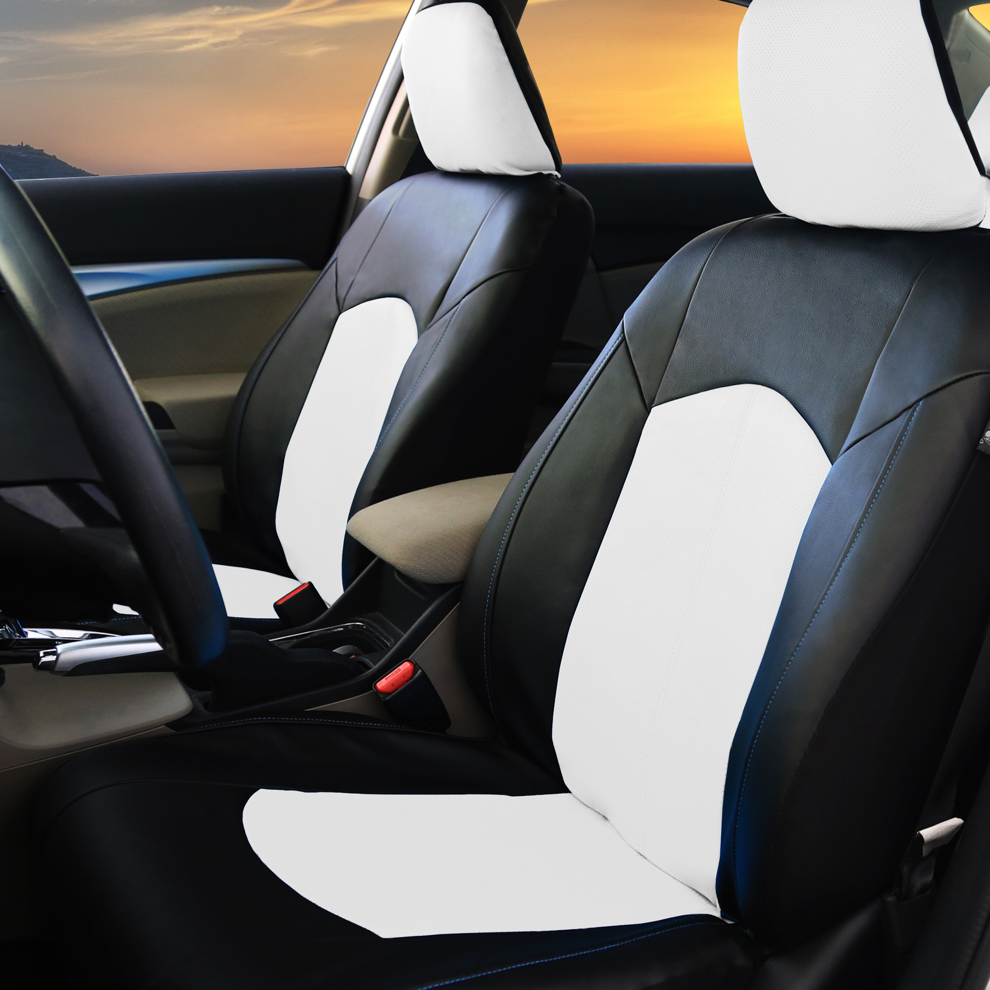Black White Pu Leather Car Seat Cover Set Headrests Floor
