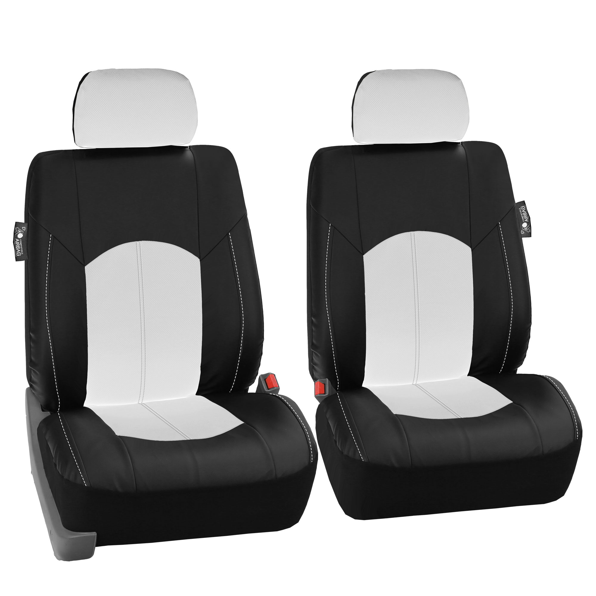 Black White PU Leather Car Seat Cover Set Headrests Floor ...