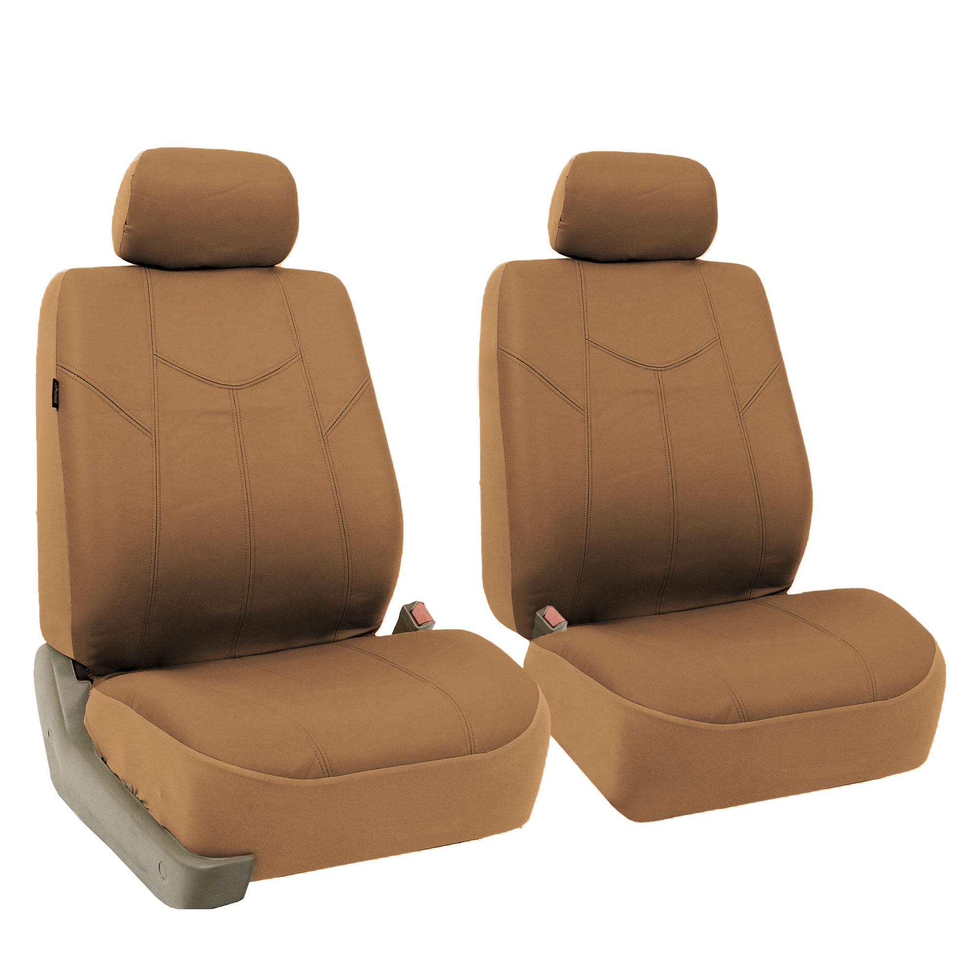 Black Tan Pu Leather Car Seat Cover Set Headrests Floor Mat Set