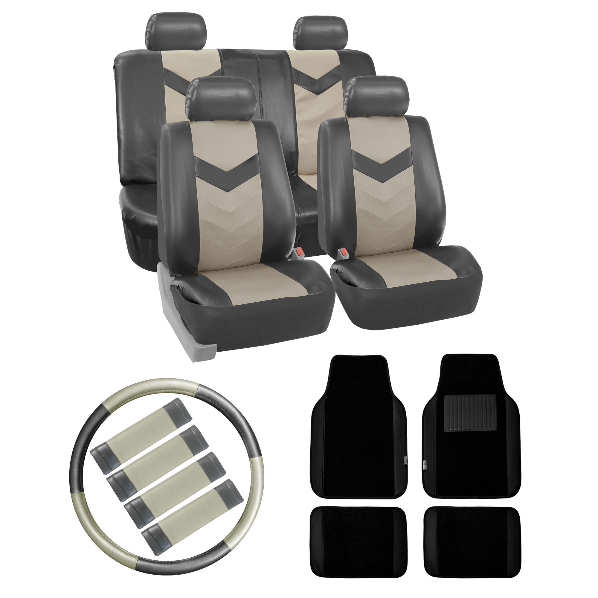 car leather seat cover floor mats steering belt pads combo gray ebay. Black Bedroom Furniture Sets. Home Design Ideas