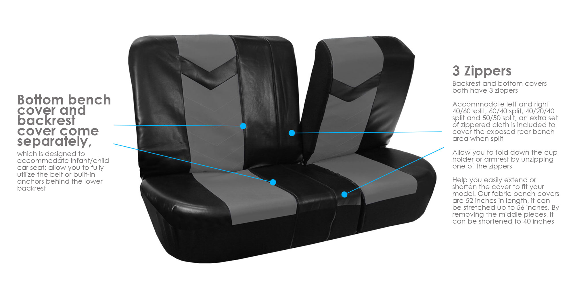 Complete PU Leather Car Seat Covers Set Gray Black For Car