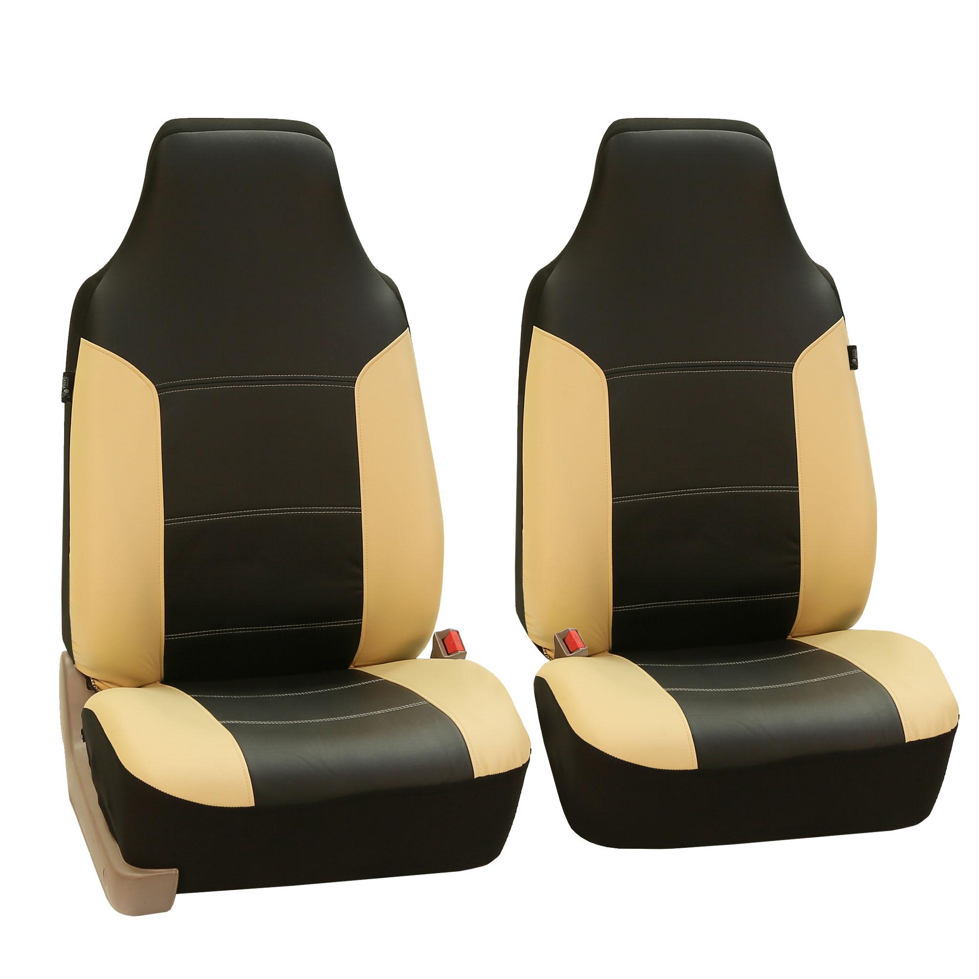 faux leather beige black car seat cover set headrests floor mat set ebay. Black Bedroom Furniture Sets. Home Design Ideas