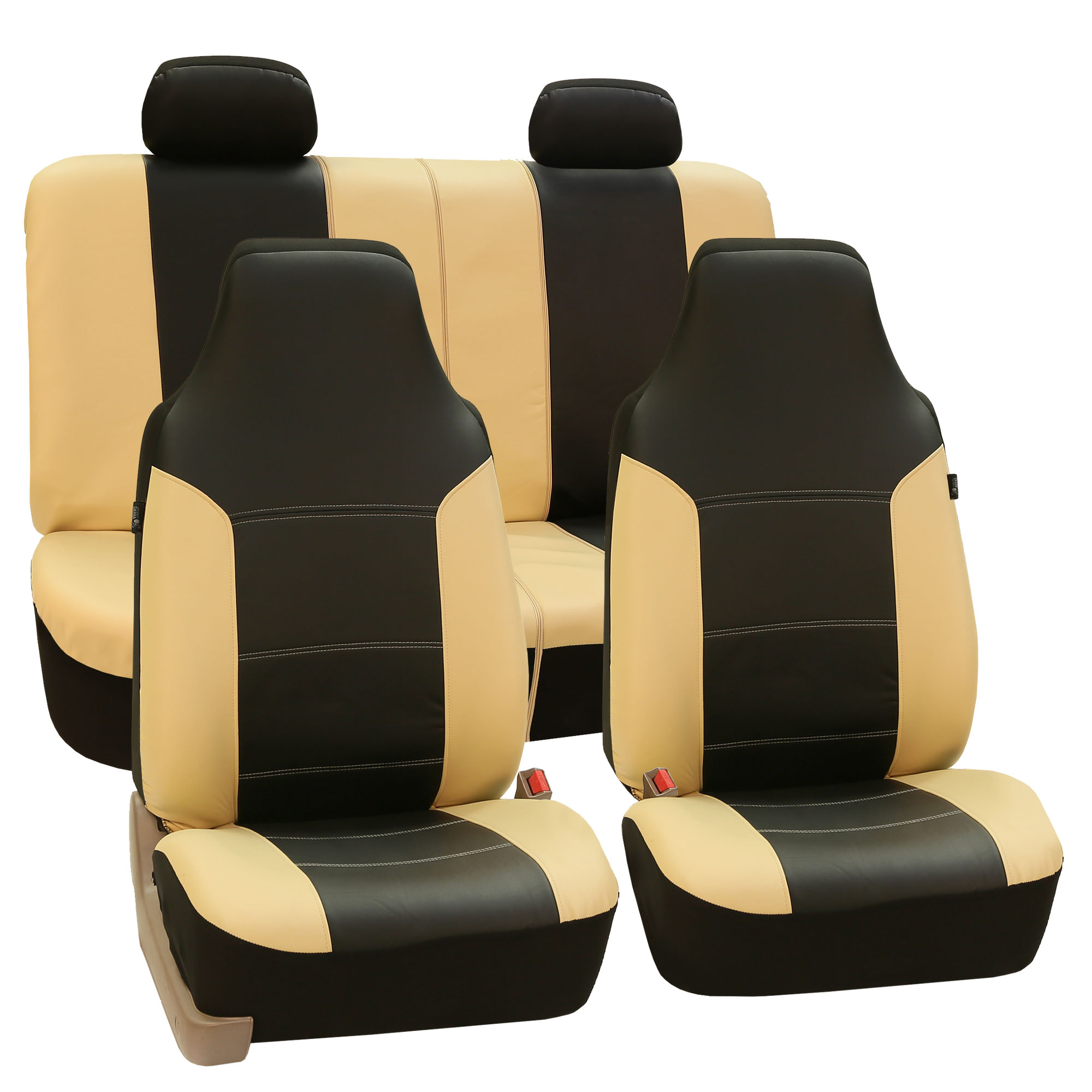 Luxury PU Leather Car Seat Cover Sporty Look Beige For Car