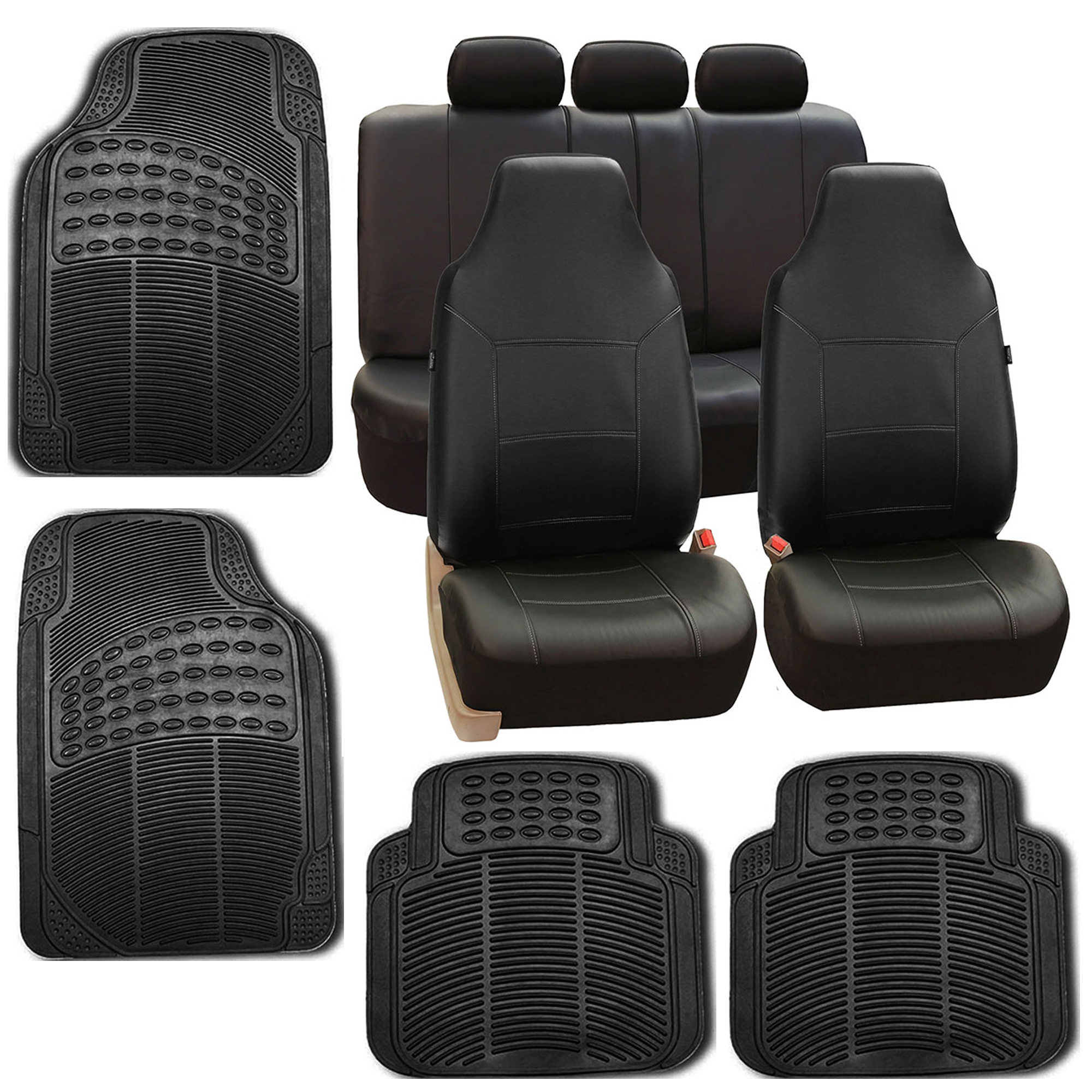 faux leather car seat covers for auto black cover w floor mats ebay. Black Bedroom Furniture Sets. Home Design Ideas