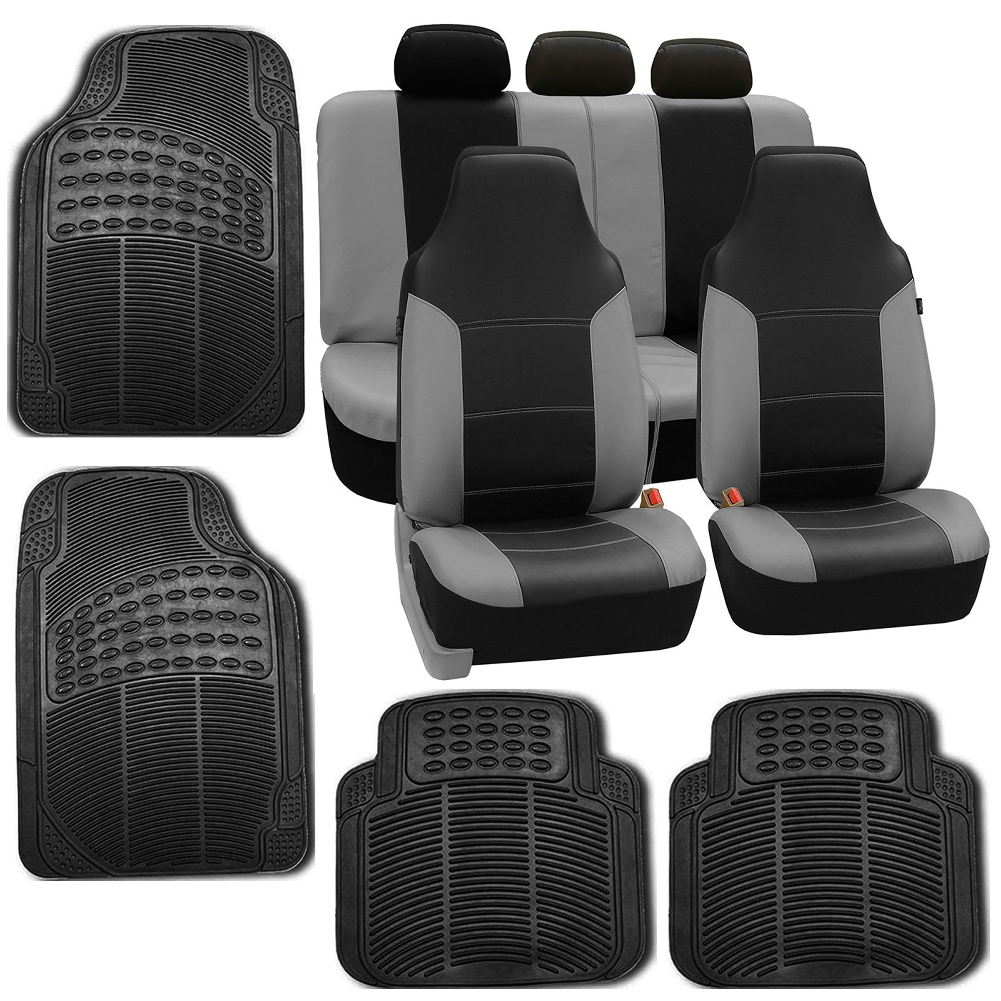 faux leather gray black car seat cover set headrests floor mat set. Black Bedroom Furniture Sets. Home Design Ideas