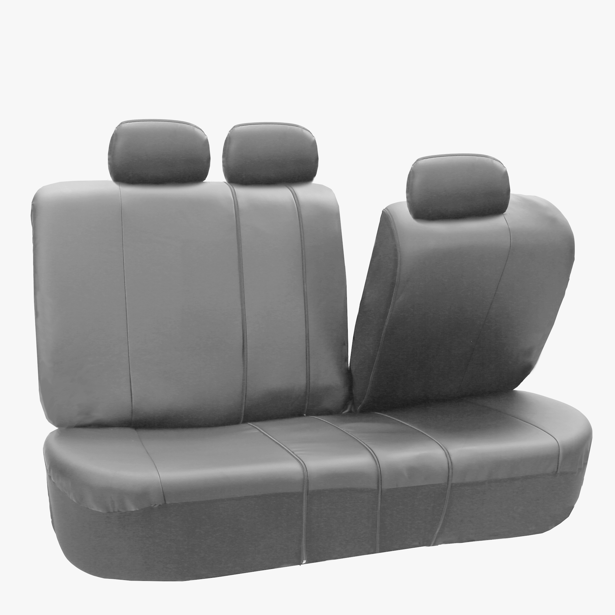 faux leather gray car seat cover set headrests floor mat set ebay. Black Bedroom Furniture Sets. Home Design Ideas