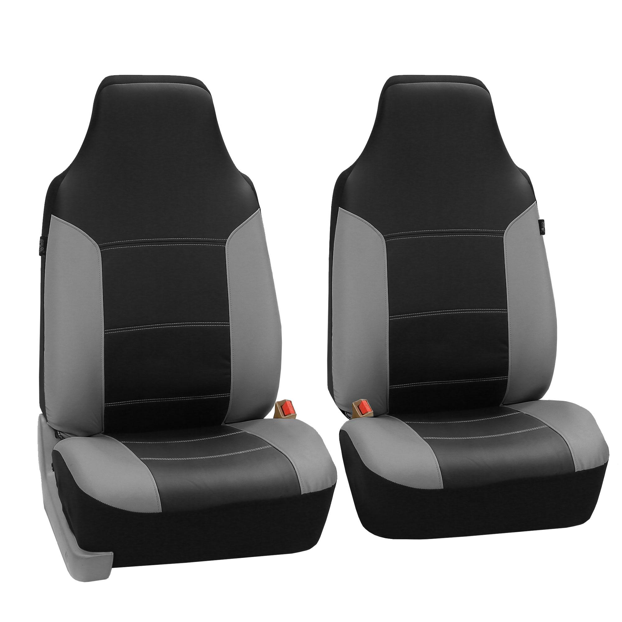 faux leather gray black car seat cover set headrests floor mat set. Black Bedroom Furniture Sets. Home Design Ideas
