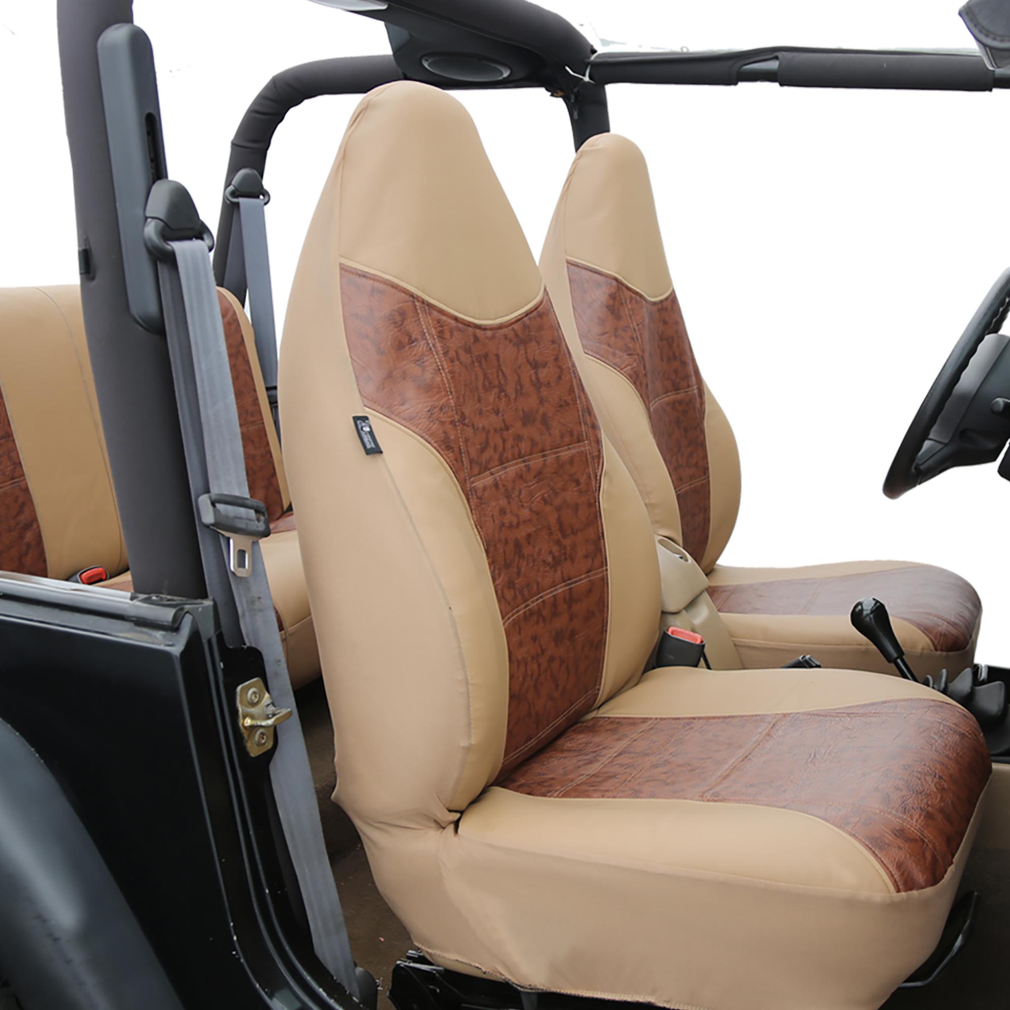 faux leather tan brown car seat cover set headrests floor mat set ebay. Black Bedroom Furniture Sets. Home Design Ideas