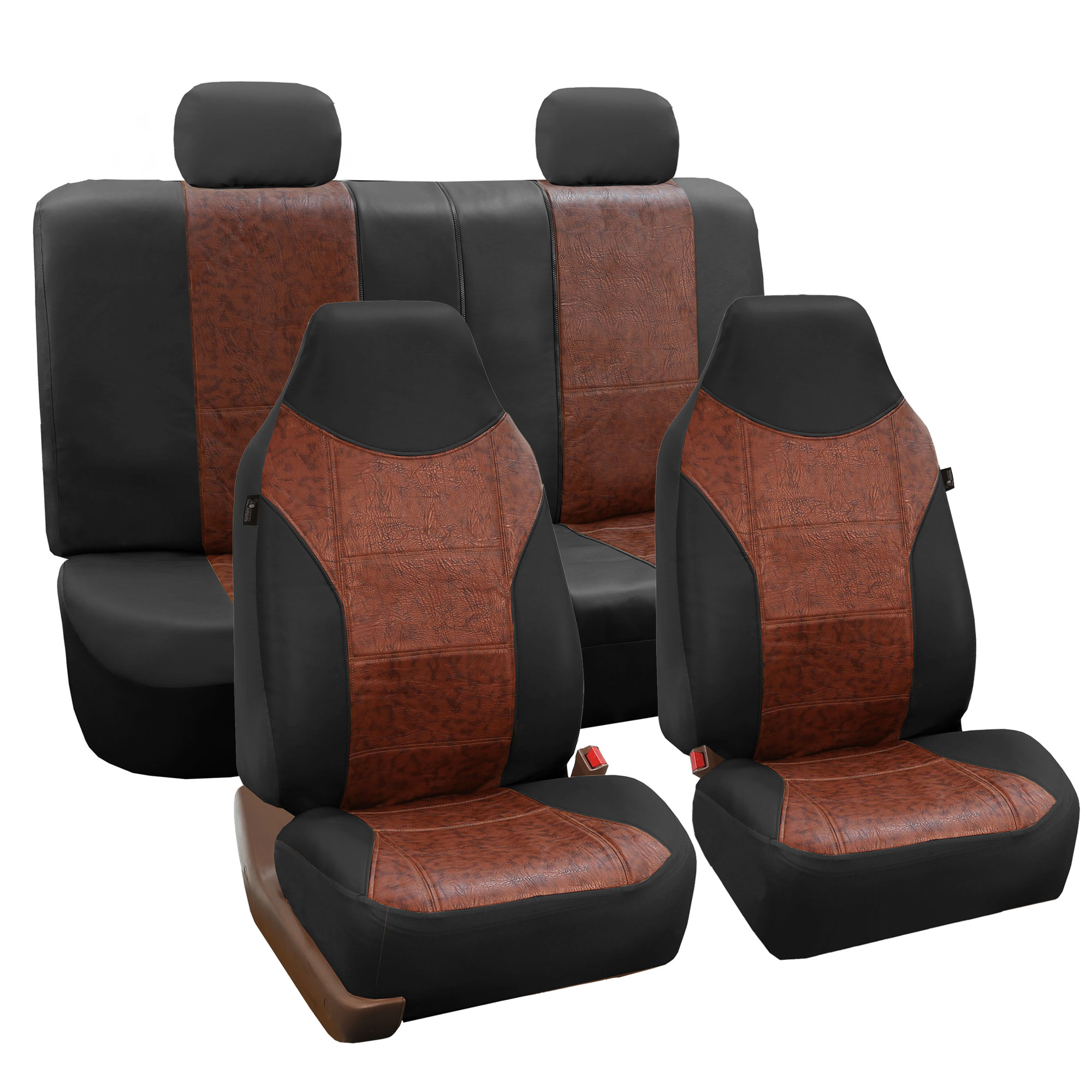 Luxury PU Leather Car Seat Cover Sporty Look Black Brown