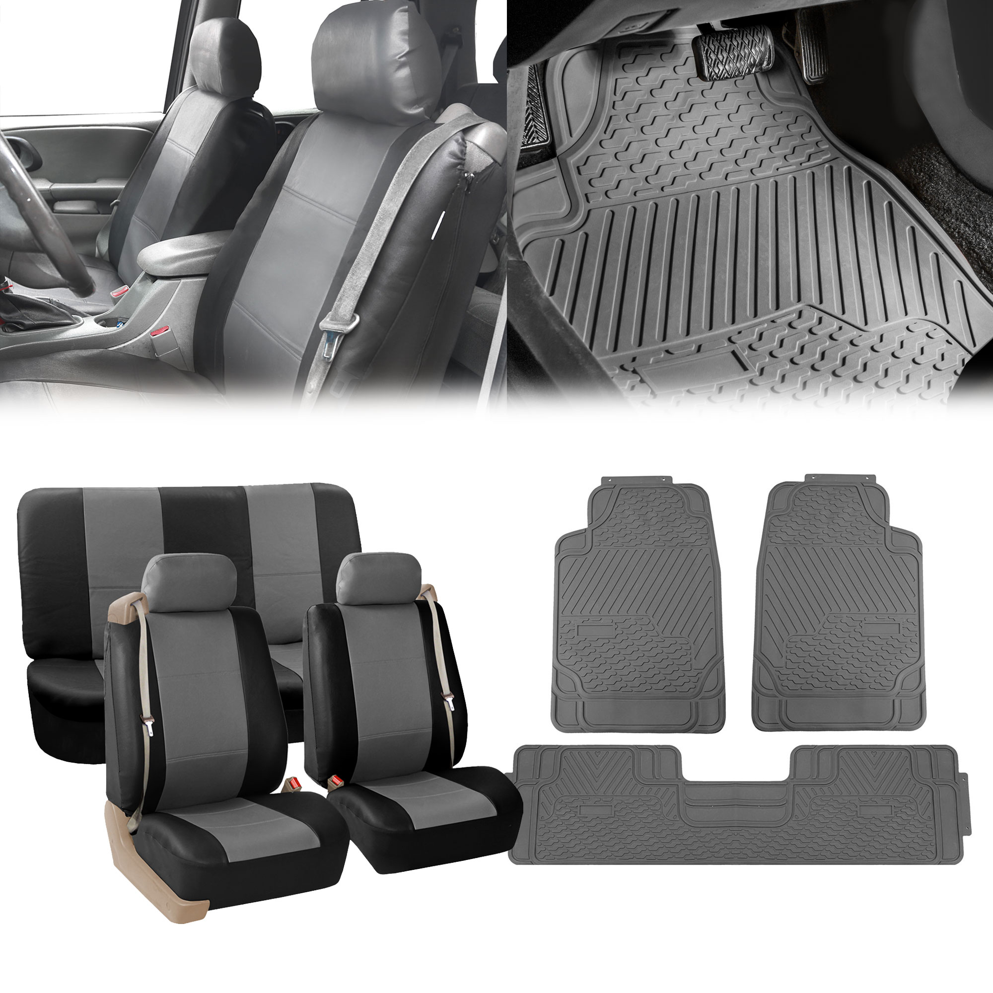 Built In Seat Belt Auto Seat Covers W Gray Floor Mats SUV