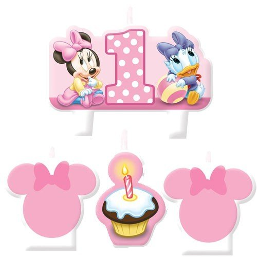 Baby minnie mouse 1st birthday mini molded candles 4ct for Baby minnie decoration