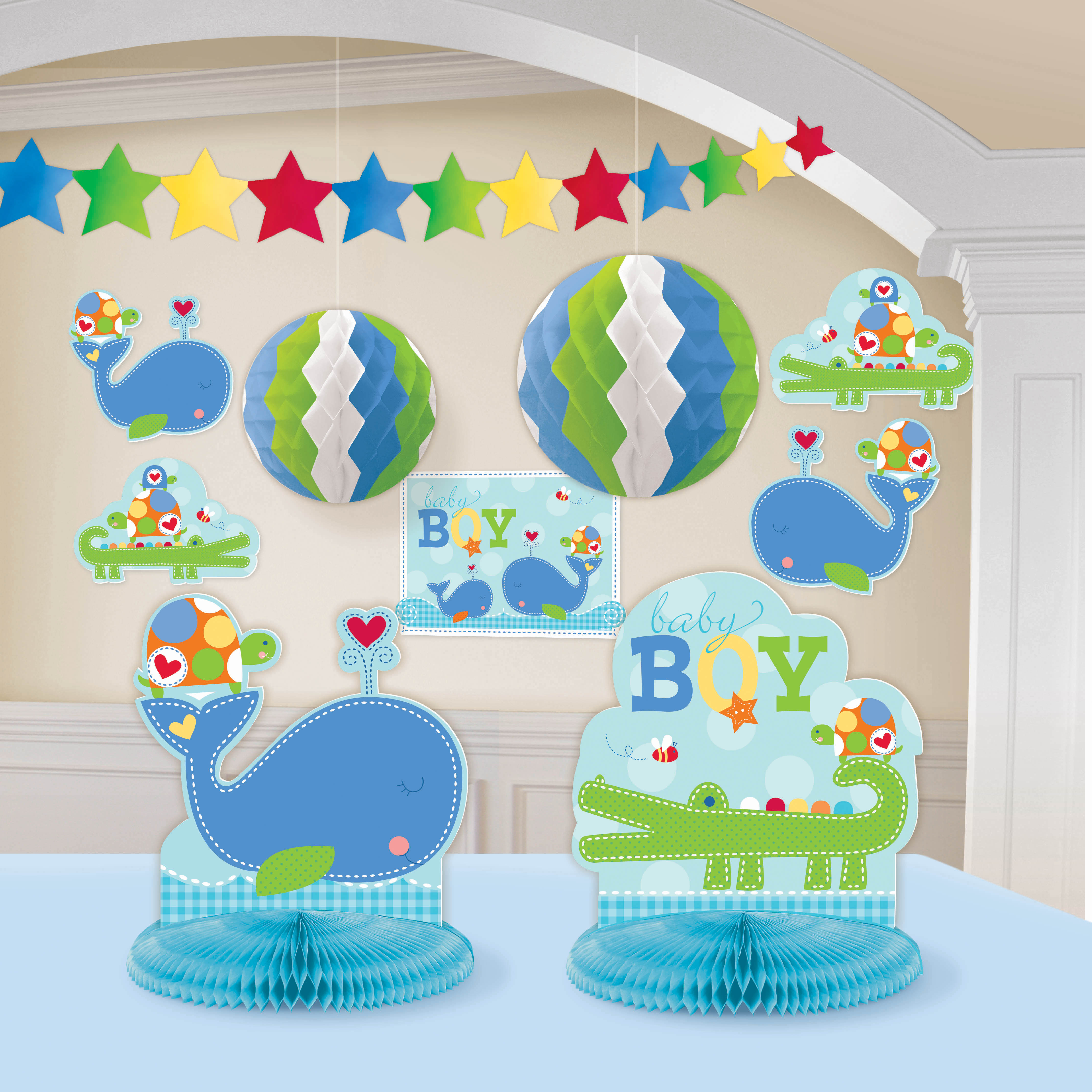 Ahoy baby room decorating kit blue boy shower birthday for Baby shower decoration kits girl