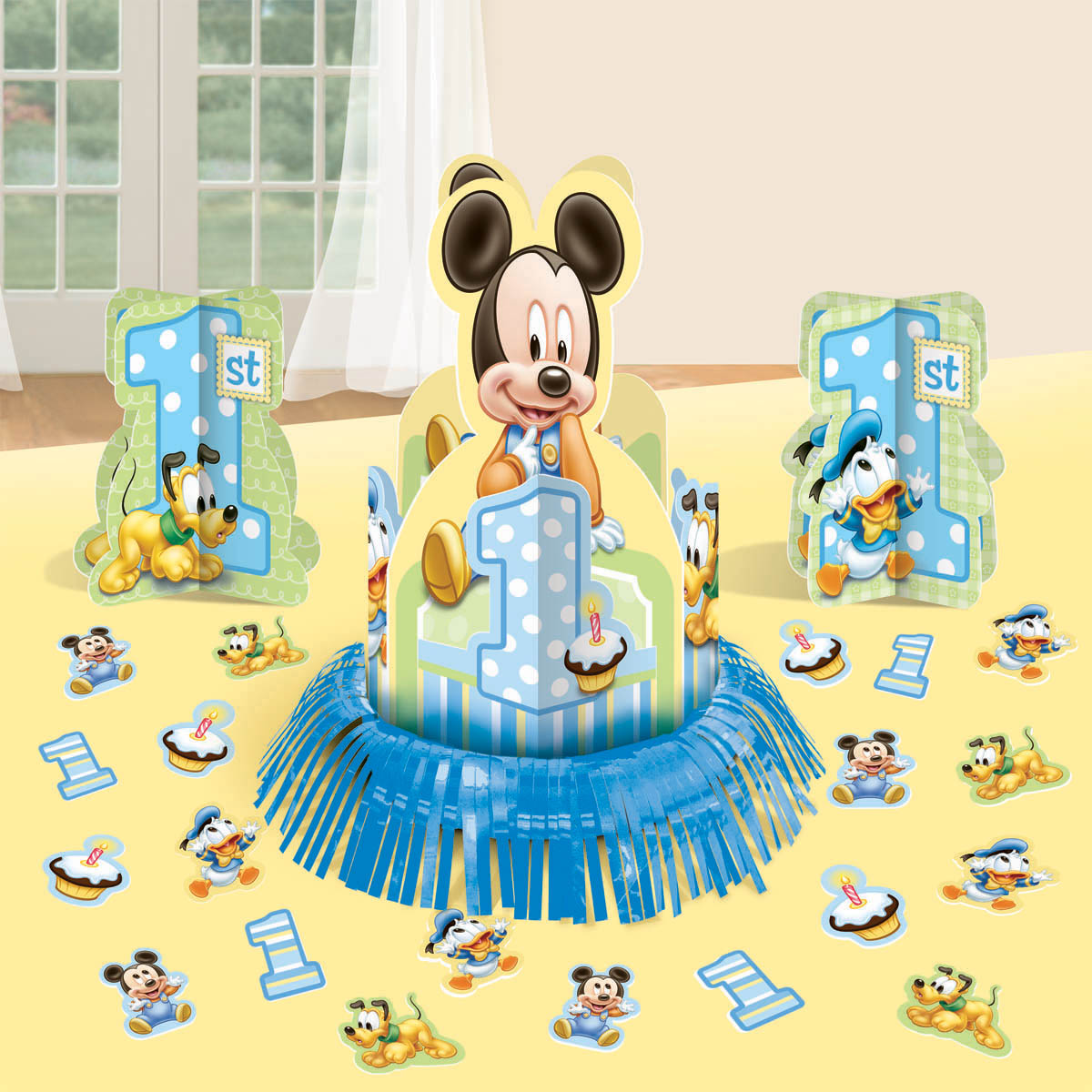 baby mickey mouse 1st birthday table decorating kit centerpiece disney party ebay. Black Bedroom Furniture Sets. Home Design Ideas