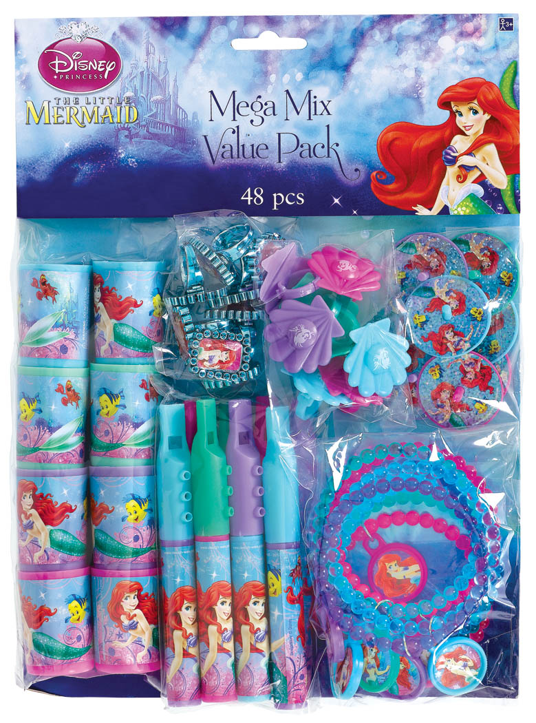 Little mermaid favor pack 48 piece ariel ocean girl for Ariel birthday party decoration ideas