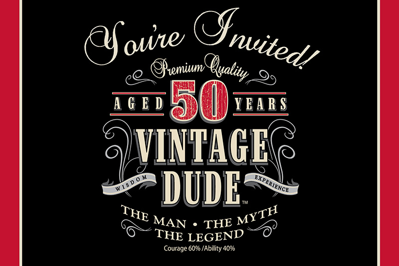 Vintage dude 50th party invitations 8 invites fifty for 50th birthday decoration packages