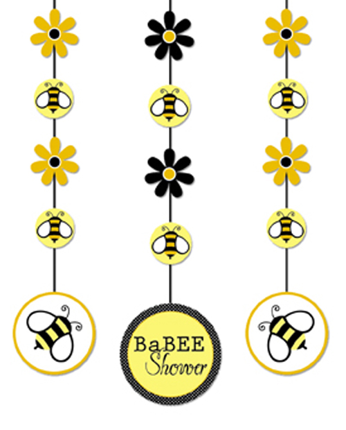 Buzz bumble bee hanging cutout decorations birthday baby for Baby shower decoration cutouts