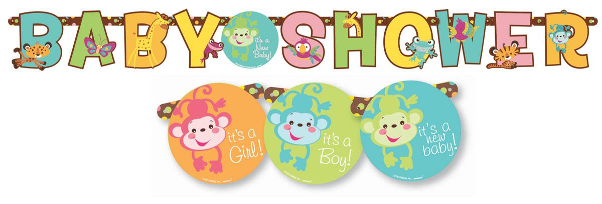 description fisher price baby shower themed hanging letter banner