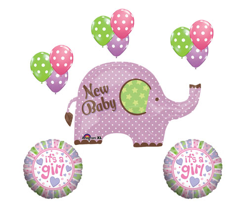 its a girl new baby elephant mylar dot latex shower welcome balloon