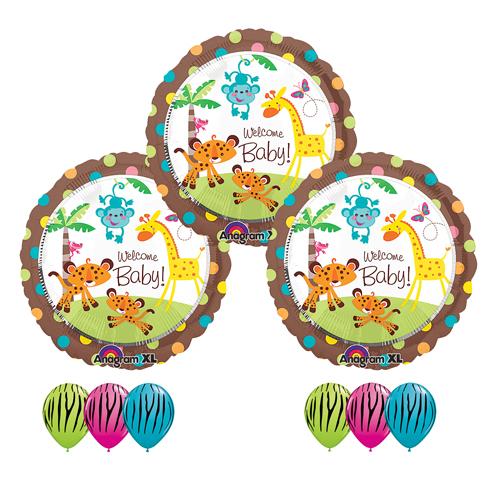 Jungle Welcome Baby Zebra Monkey Giraffe Baby Shower Boy Girl Balloon Latex Set