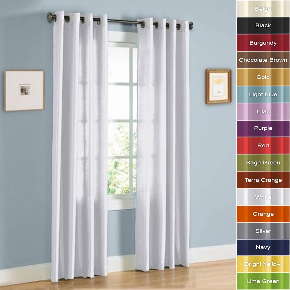 2 Panels Of Faux Silk Grommet Window Curtain Panels 84 Inch 95 Inch Long Ebay