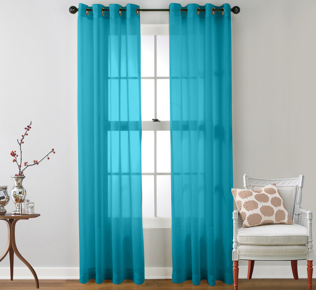 Teal curtain panels - 2 Piece Sheer Window Curtain Grommet Panels